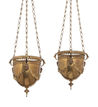 A PAIR OF LACQUER GILT BRASS H
