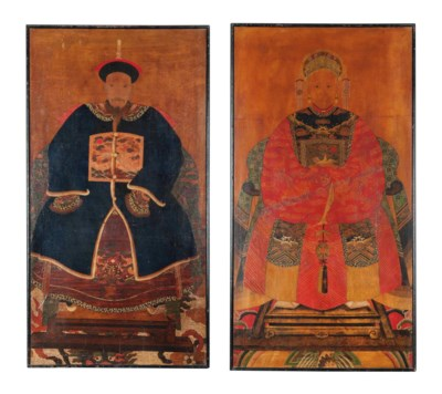 A PAIR OF CHINESE PAINTED ANCE