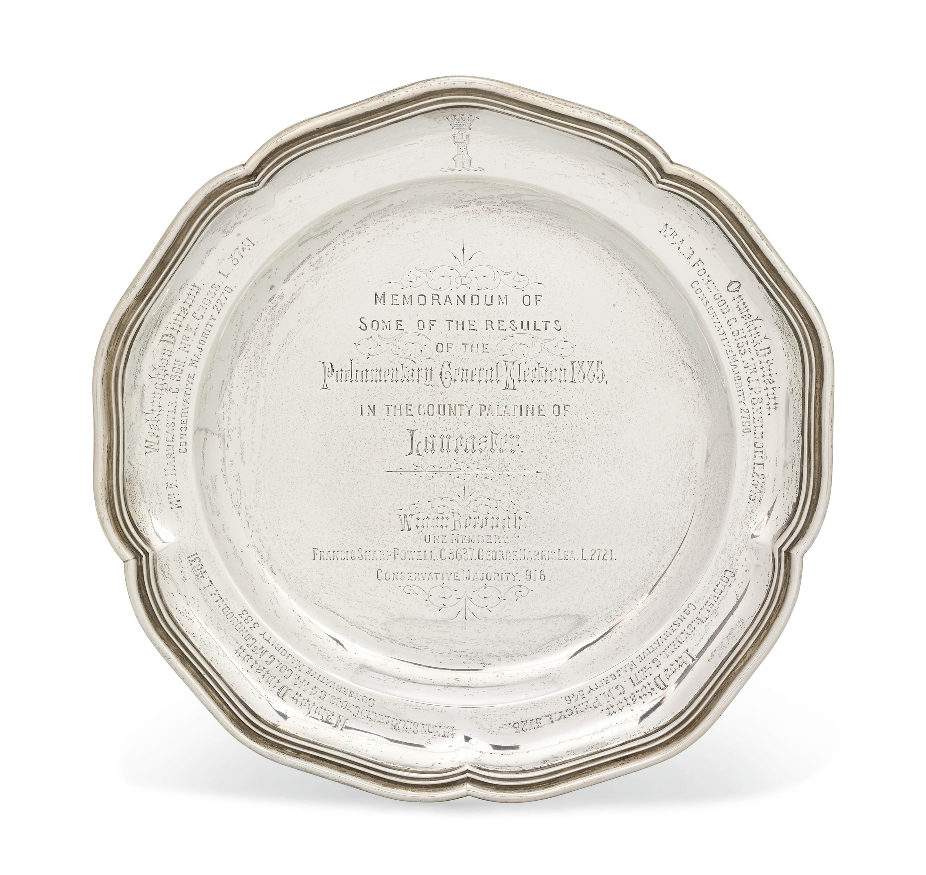 BENJAMIN DISRAELI:- A VICTORIAN SILVER PLATE WITH LATER GENERAL ELECTION INSCRIPTION