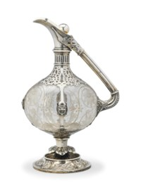 A VICTORIAN SILVER-MOUNTED ENGRAVED GLASS CLARET JUG