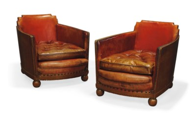 A PAIR OF ART DECO RED LEATHER