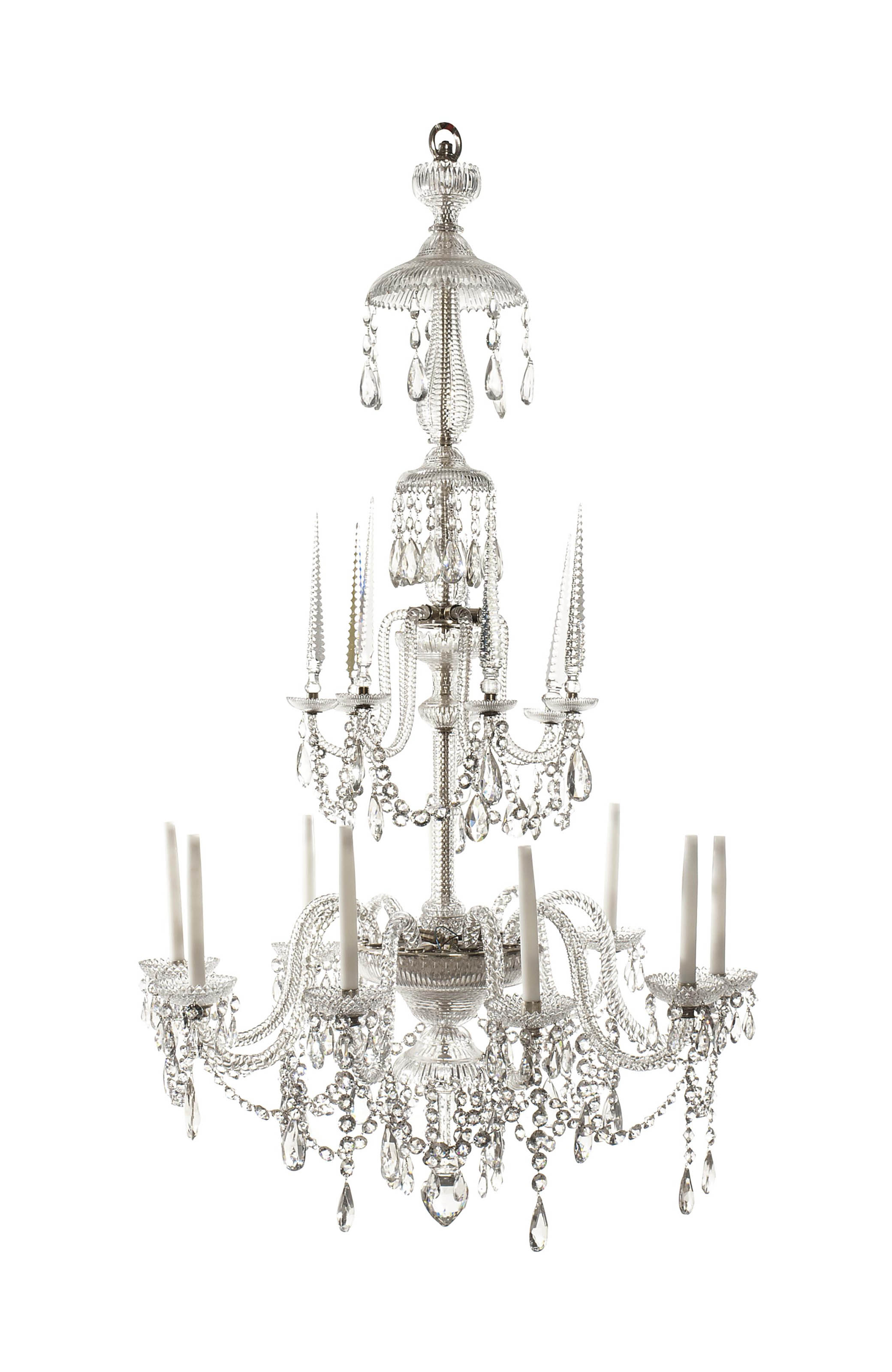 A LATE VICTORIAN CUT-GLASS NINE-LIGHT CHANDELIER