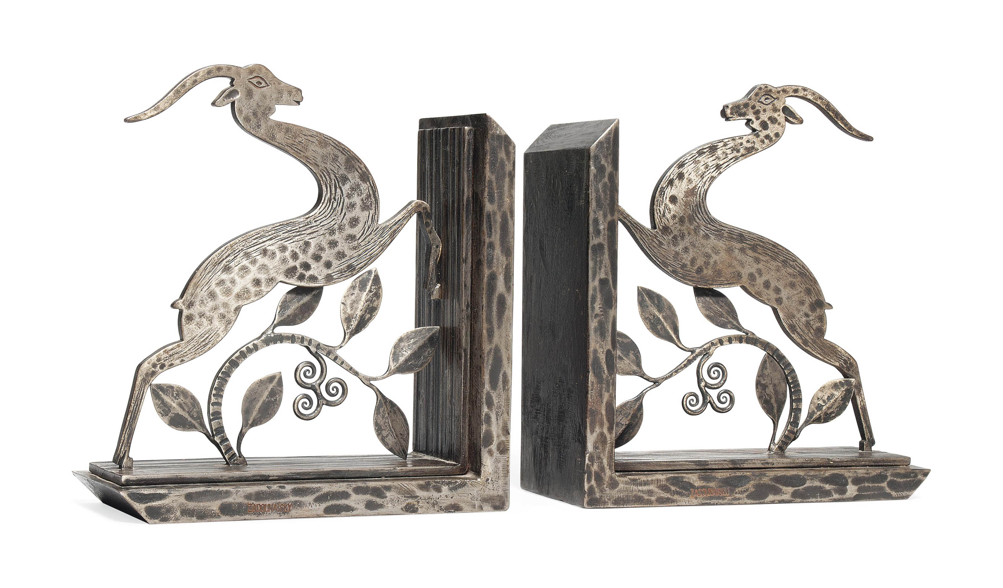 A PAIR OF MICHEL ZADOUNAISKY WROUGHT-IRON BOOK ENDS