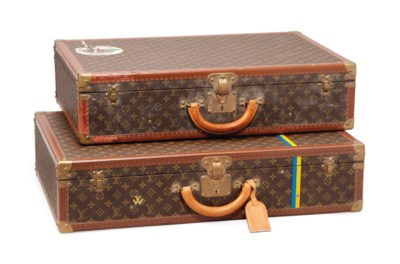 TWO BISTEN SUITCASES IN MONOGR