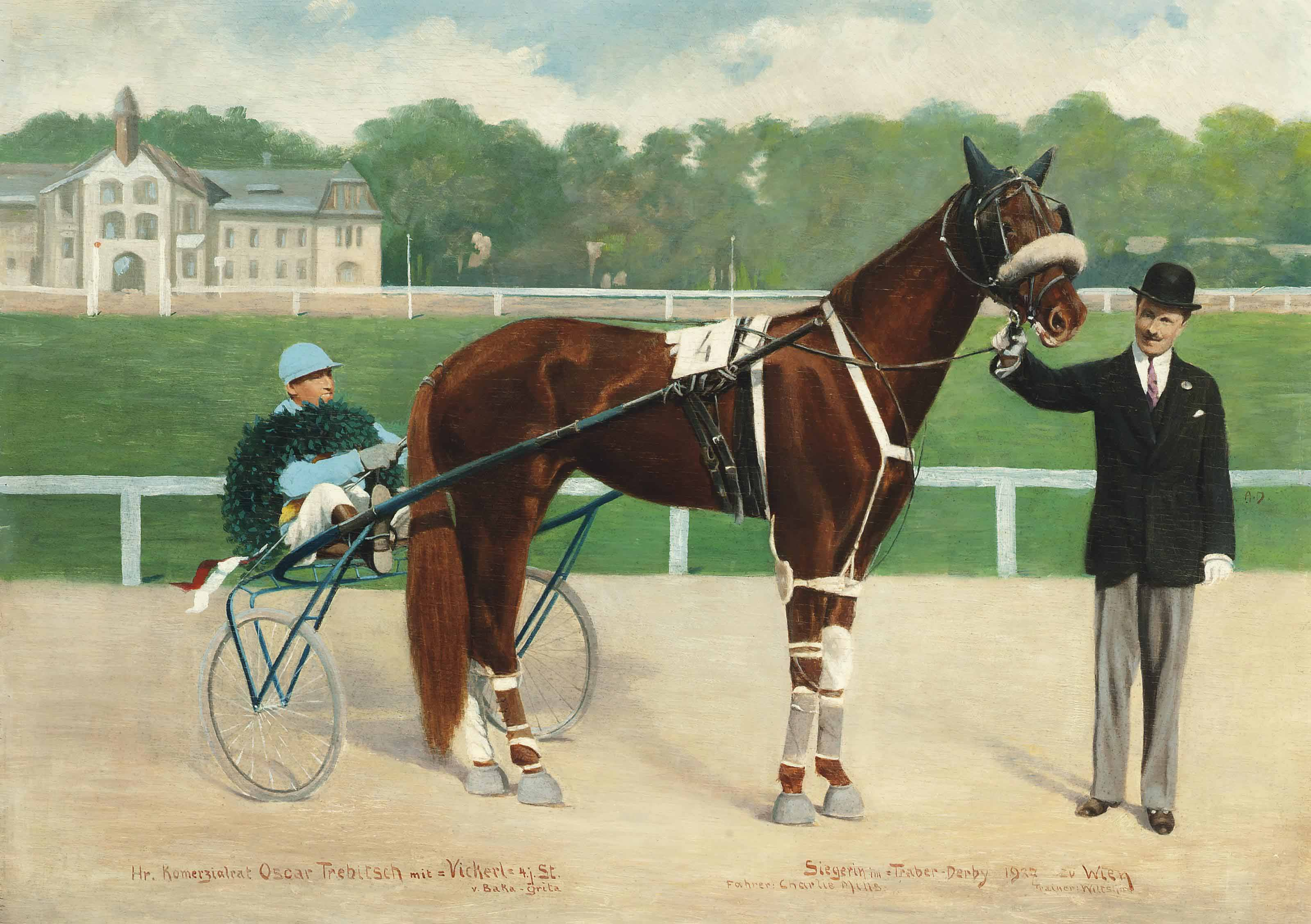 Vickerl ridden by Charlie Mills, winner of the 1927 Trotting Derby