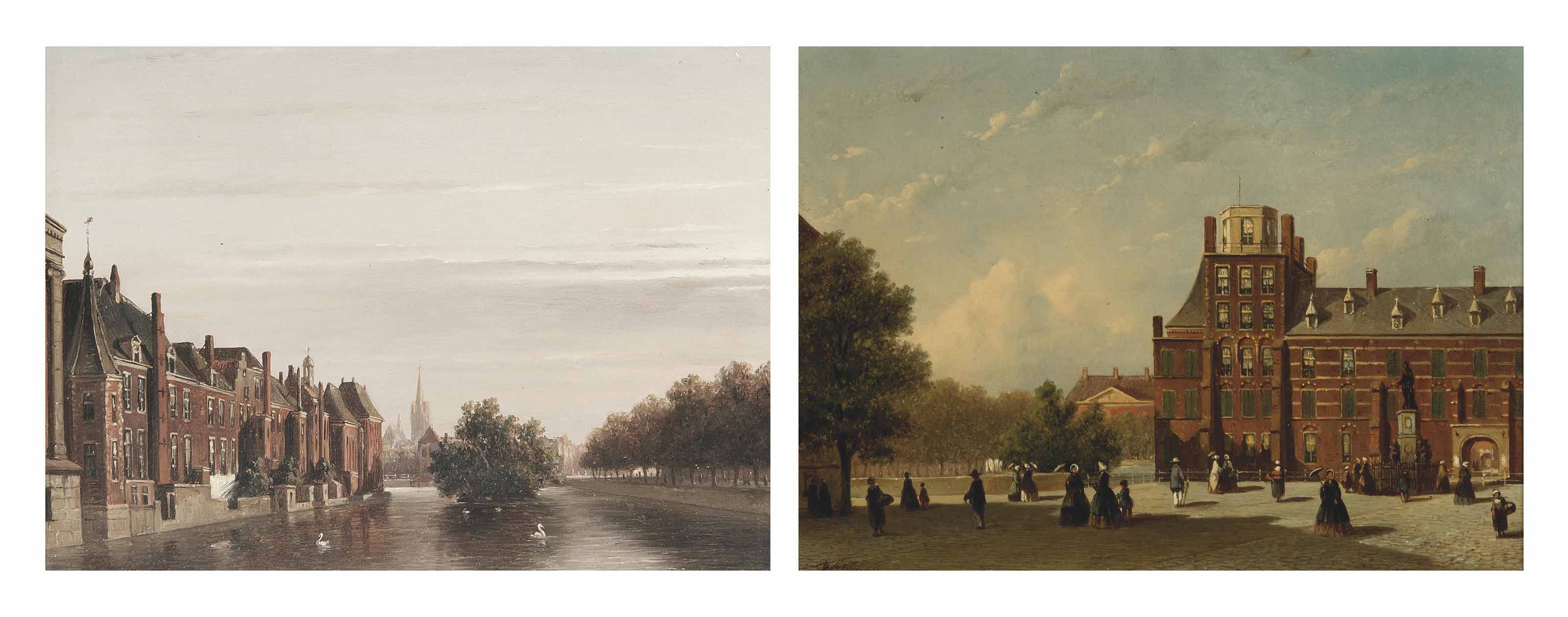 Elegant figures strolling along the Buitenhof, The Hague; and The Binnenhof as seen from Korte Vijverberg