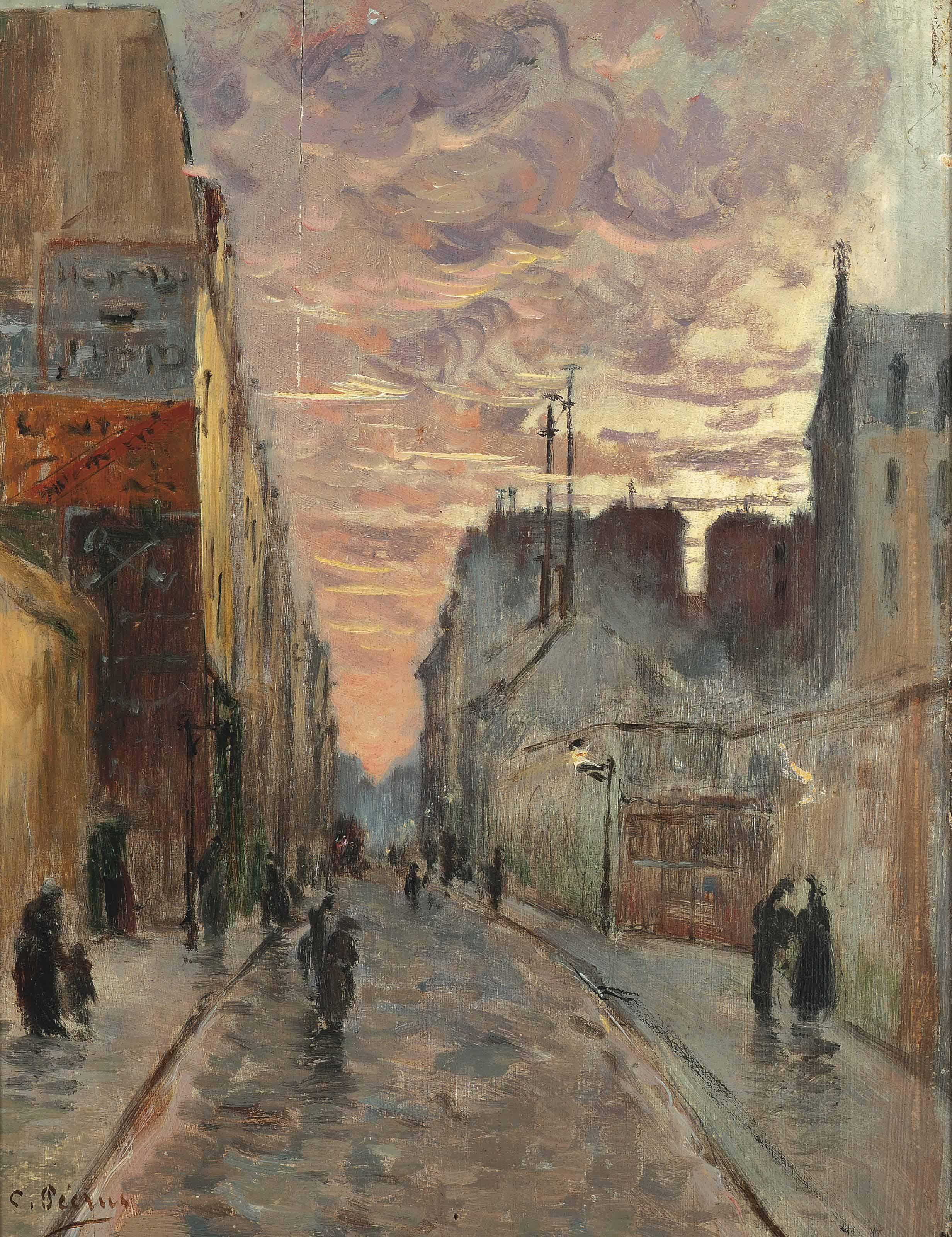 A bustling street at dusk