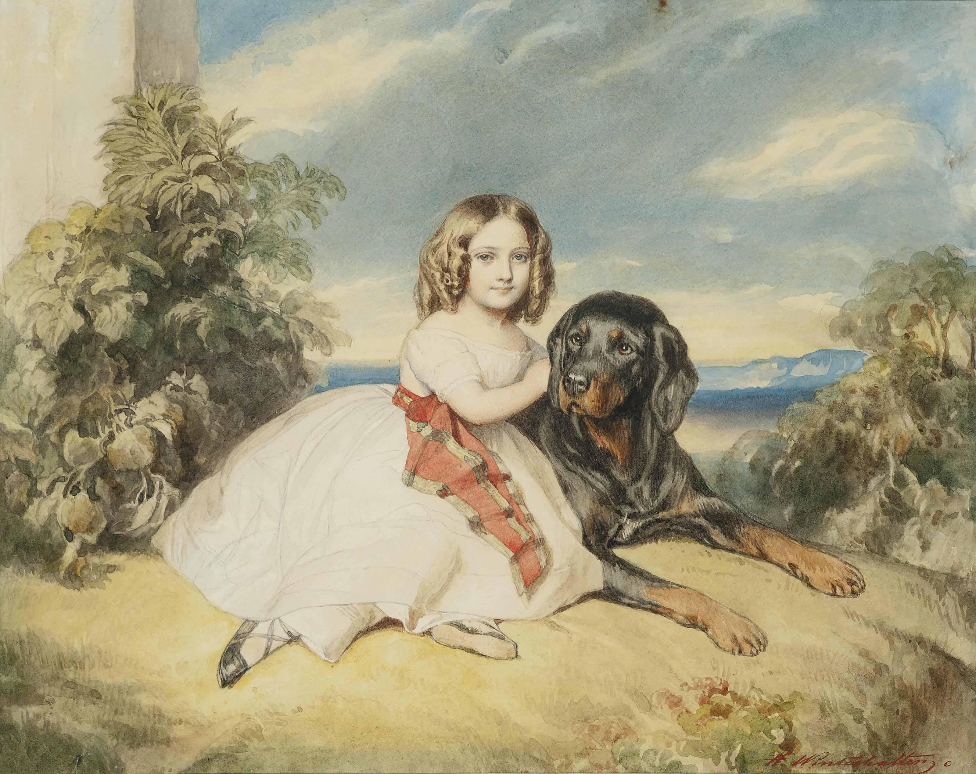 Portrait of Mlle Virginie de St-Aldegonde (1834-1900), later Duchesse de Rochechouart-Mortemart (after Franz Xaver Winterhalter)