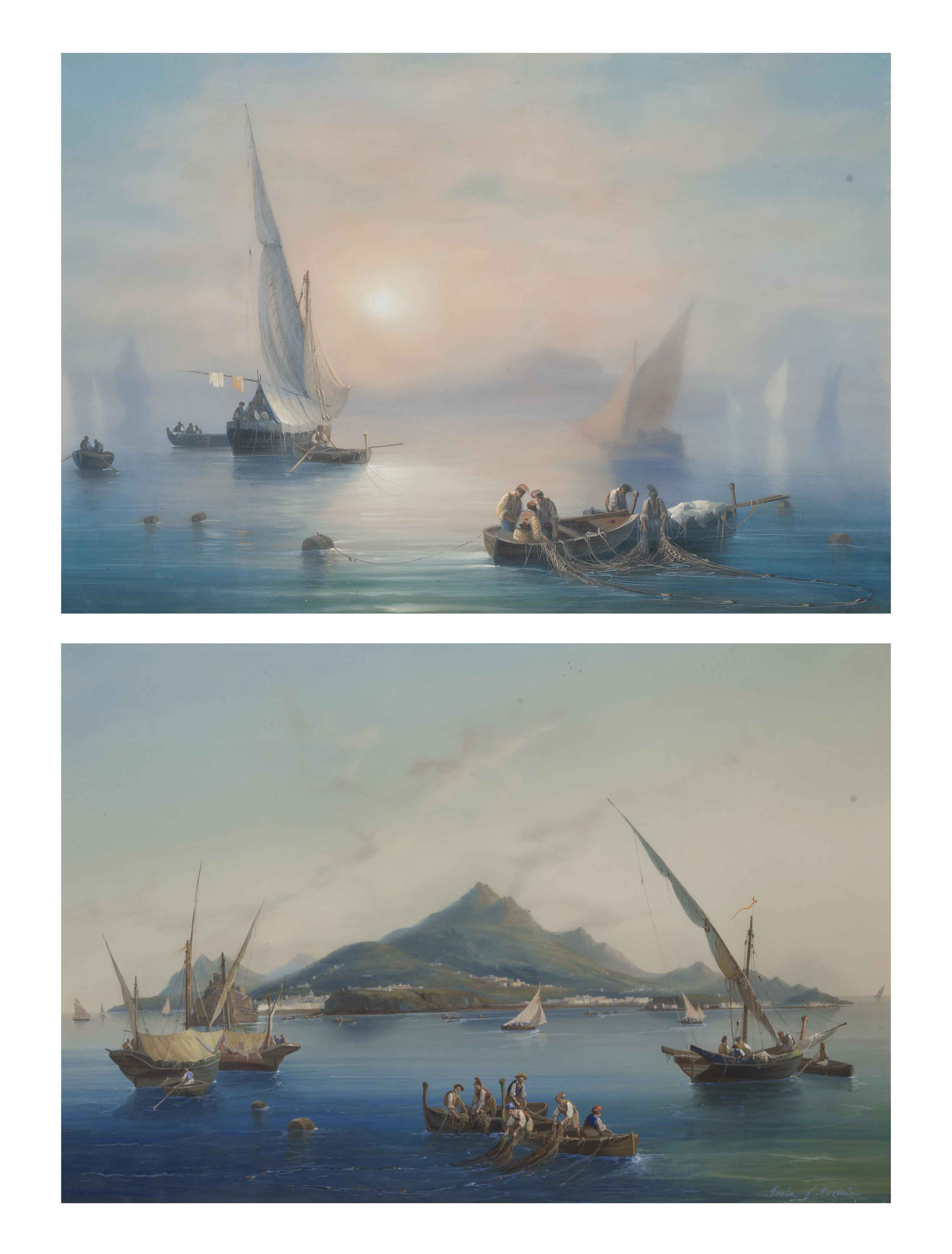 Fishing off Capri in the mist; and Fishing before Ischia