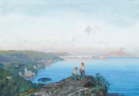 Girls on an outcrop above the Bay of Naples at dusk