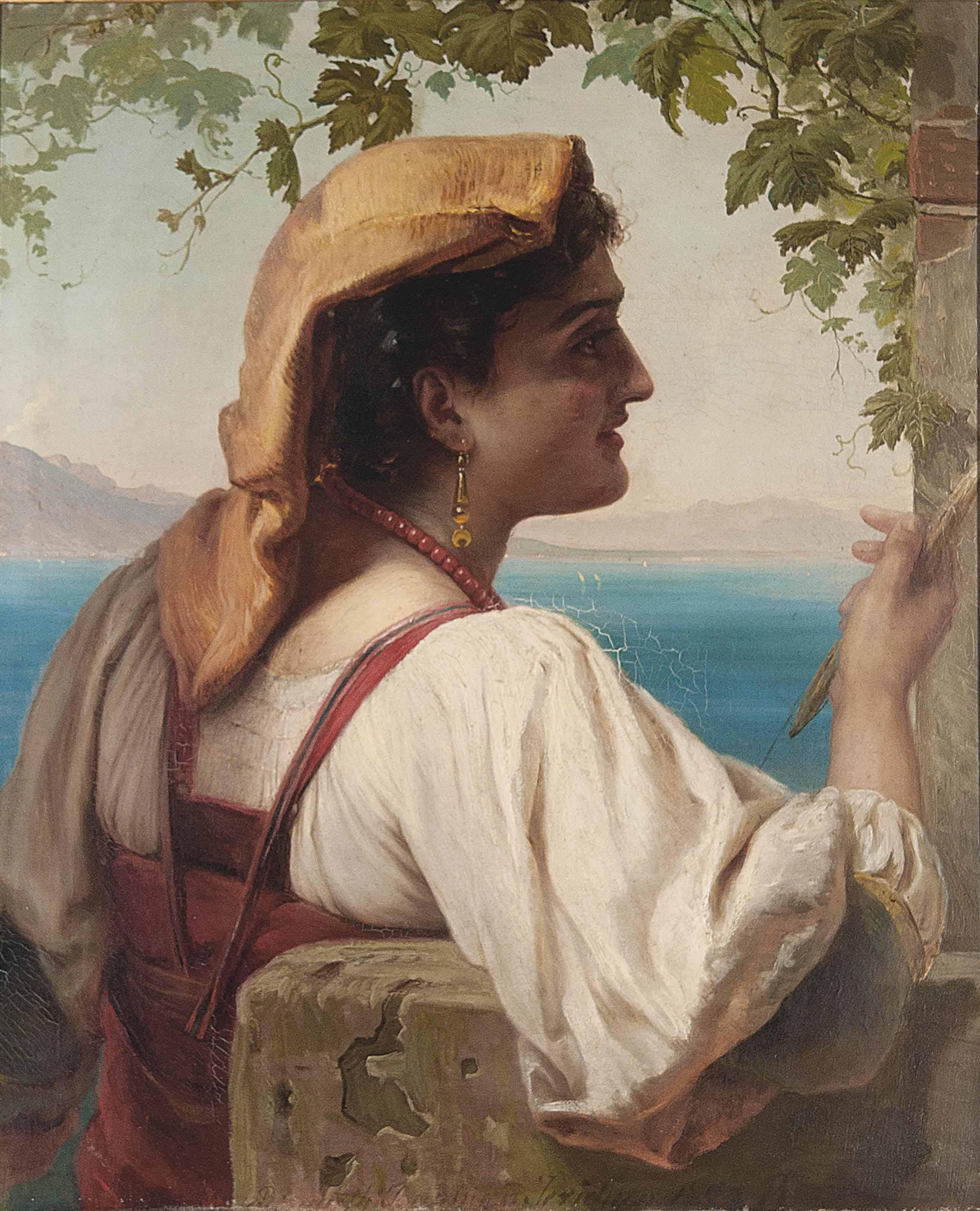 An Italian maiden mending nets on the Bay of Naples