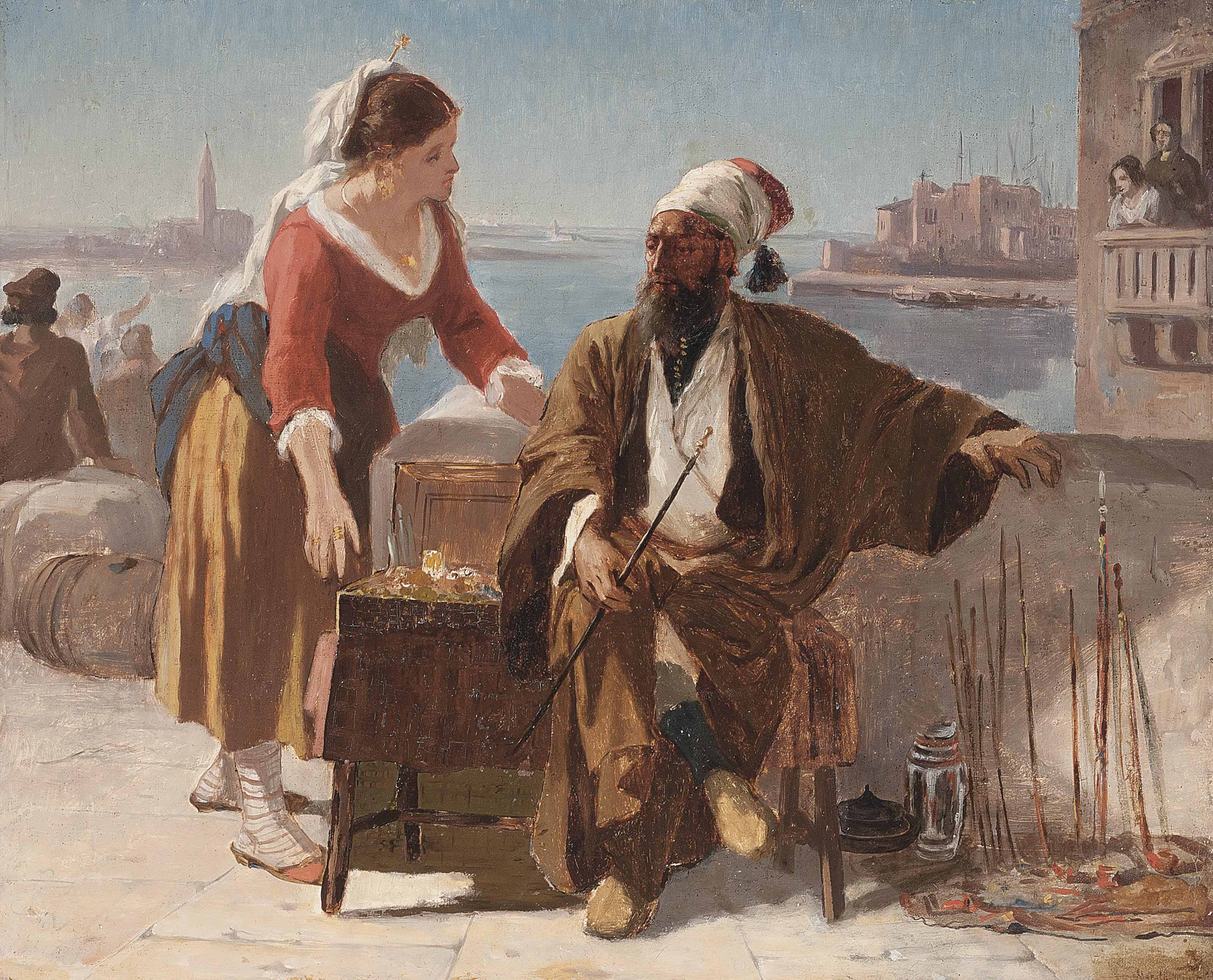 A Turkish pipe seller on a Venetian quayside