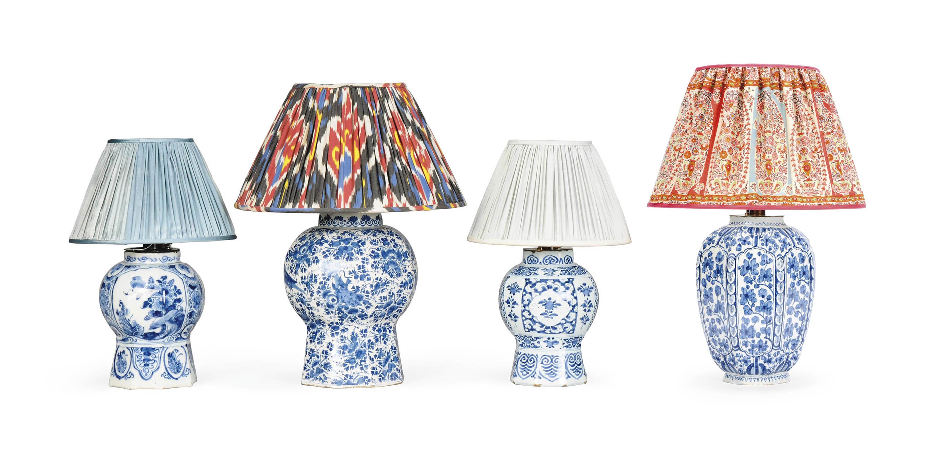 FOUR DUTCH DELFT BLUE AND WHITE VASE LAMPS