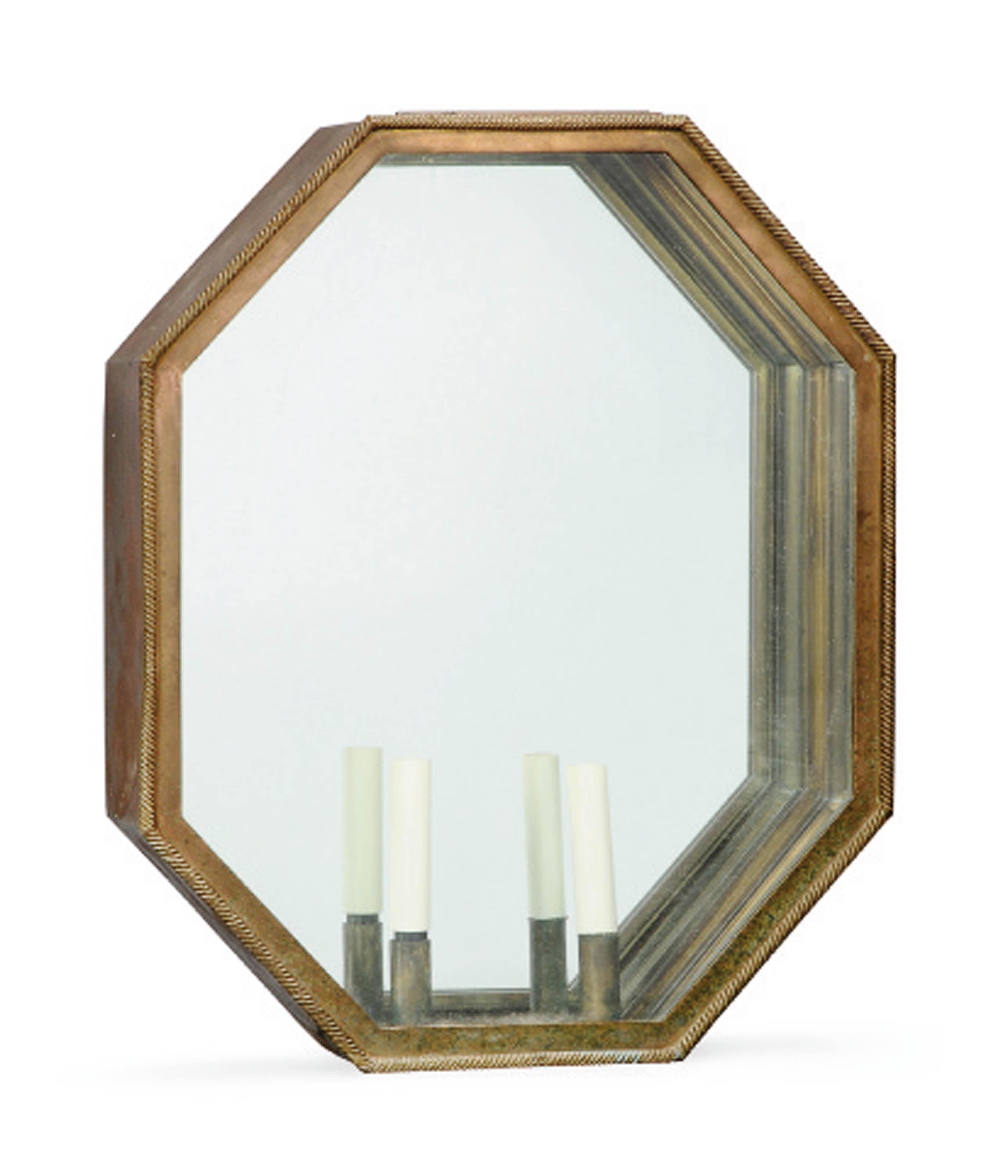 A MODERN POLYGONAL MIRRORED BRASS WALL LANTERN