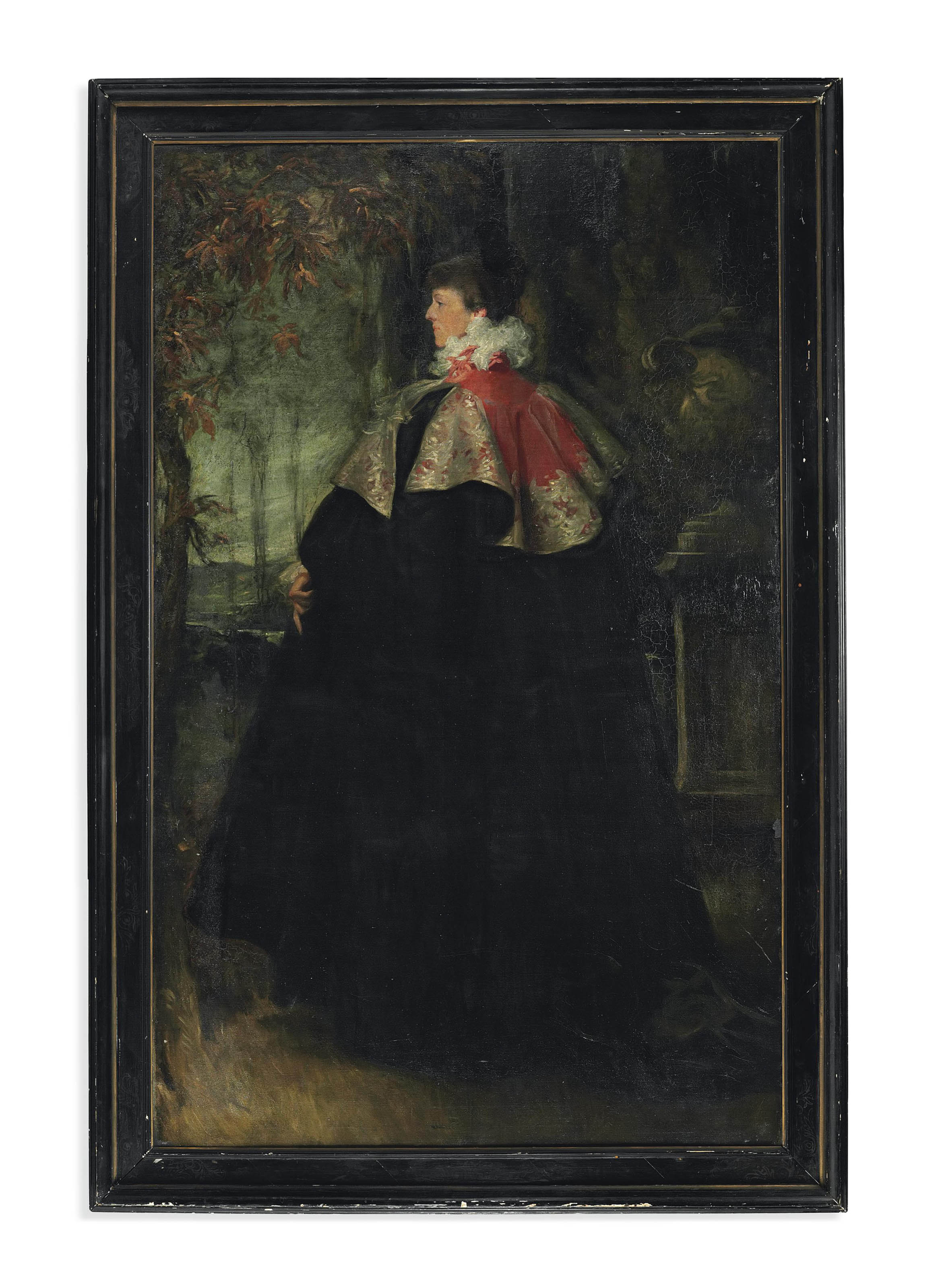 Portrait of Mrs Ian Hamilton, later Lady Hamilton, standing full-length, in a black 'Worth' cloak with a pink collar, on a terrace.