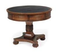 A SCOTTISH WILLIAM IV OAK DRUM TABLE