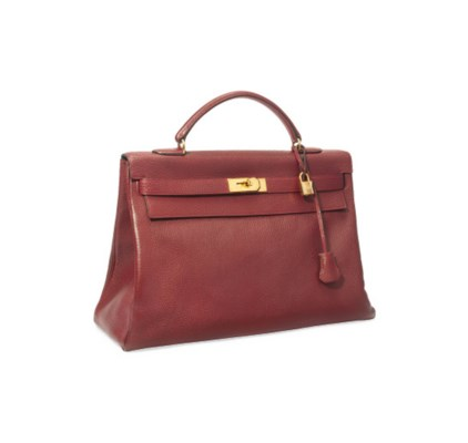 A ROUGE FONCE LEATHER 'KELLY'