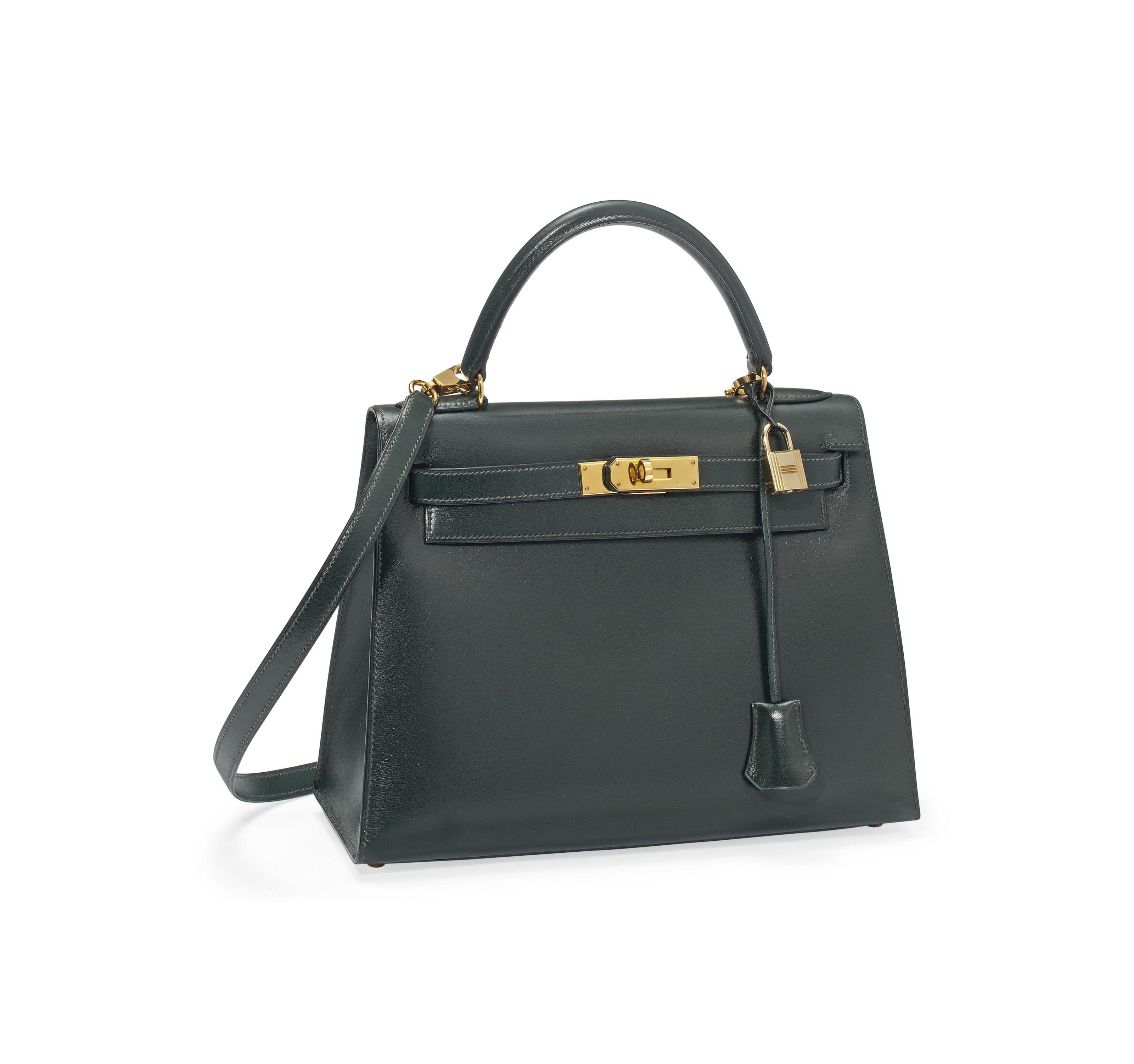 A FOREST GREEN BOX LEATHER 'KELLY' BAG
