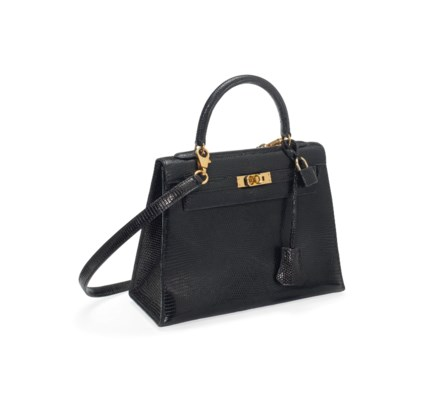 A BLACK LIZARD 'KELLY' BAG