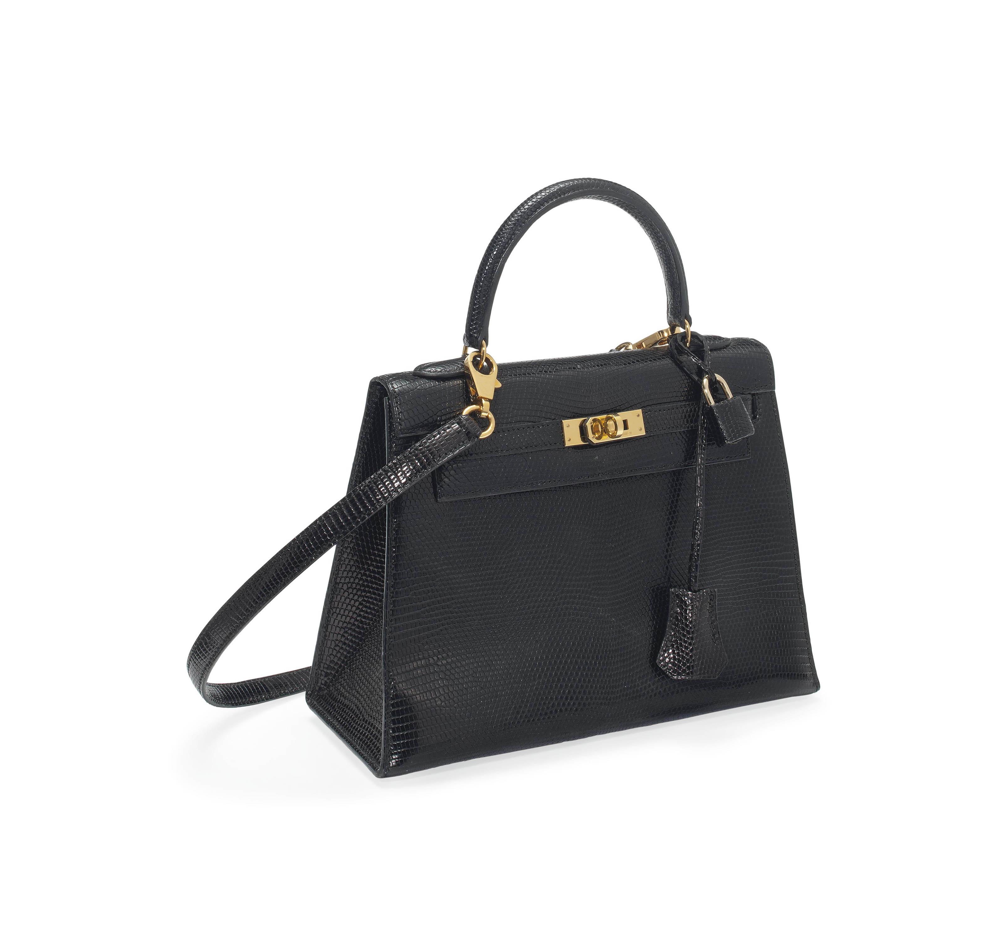 A BLACK LIZARD 'KELLY' BAG