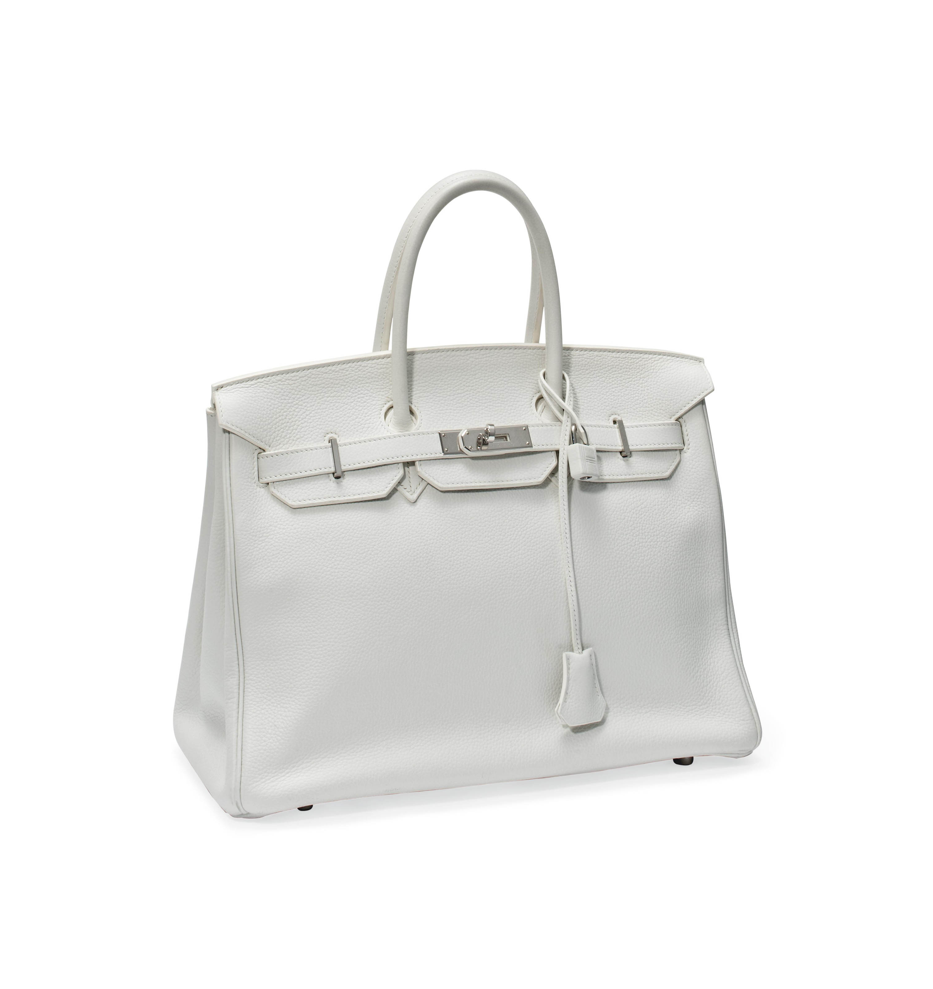 A WHITE LEATHER 'BIRKIN' BAG