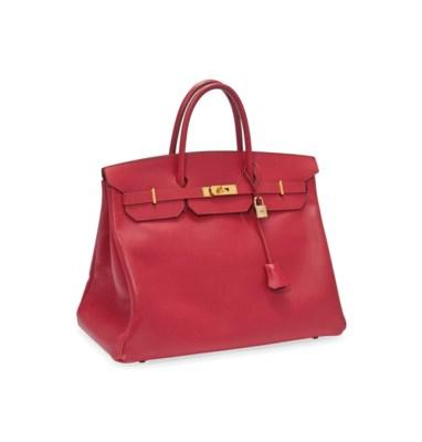 A RED LEATHER 'BIRKIN' BAG