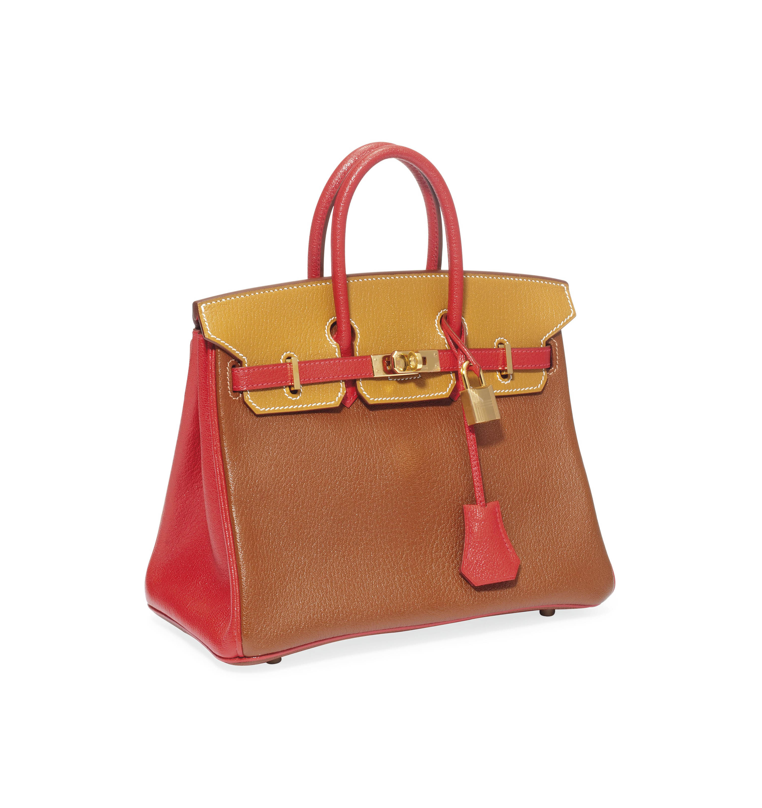 A TRI-COLOUR RED, GOLD AND BROWN GOAT-SKIN LEATHER 'BIRKIN' BAG