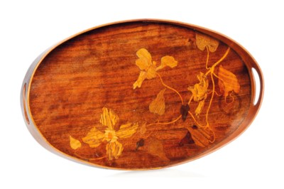 AN EMILE GALLÉ MARQUETRY TRAY