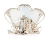 A WMF ART NOUVEAU SILVERED-METAL TEA AND COFFEE SERVICE WITH TWO TRAYS