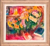 Blake-Vincent's letters, jars of pigment, chrysanthemums