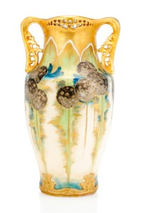AN 'AMPHORA' TWIN-HANDLED PORCELAIN VASE MADE BY RIESSNER, STELLMACHER & KESSEL