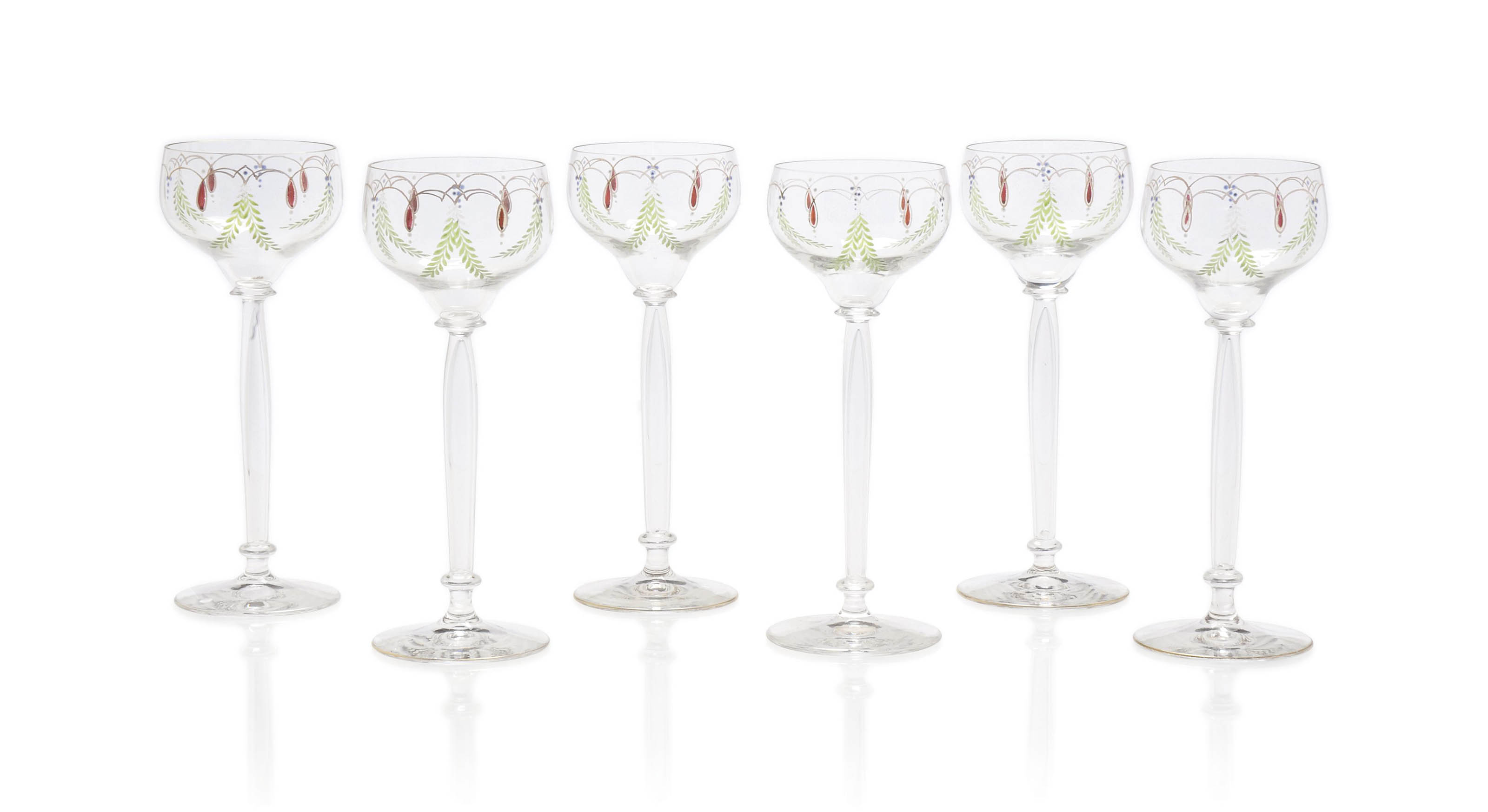 A SET OF SIX ENAMELLED GLASS H