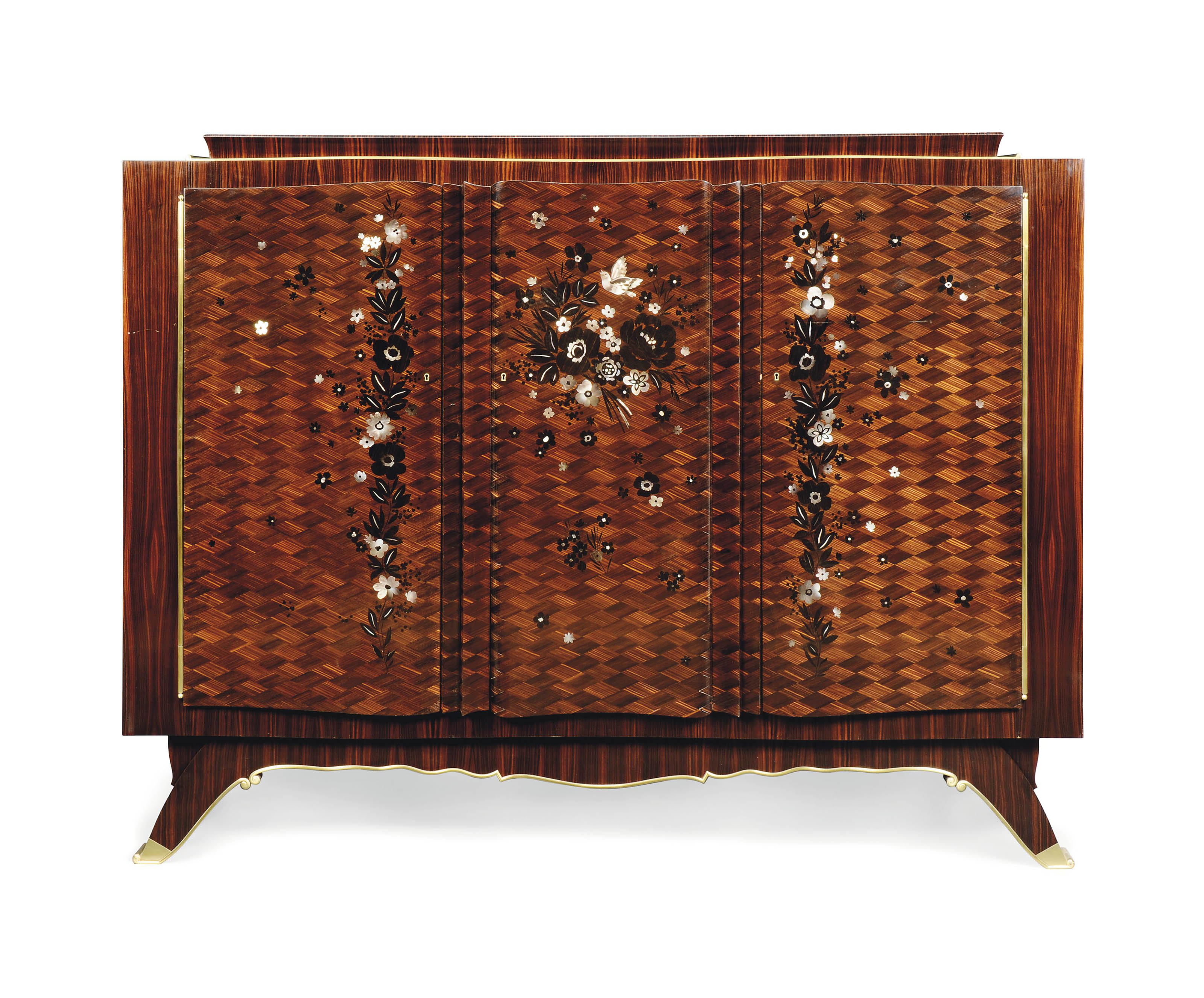 A JULES LELEU (1883-1961) ROSEWOOD PARQUETRY AND MOTHER-OF-PEARL INLAID CABINET