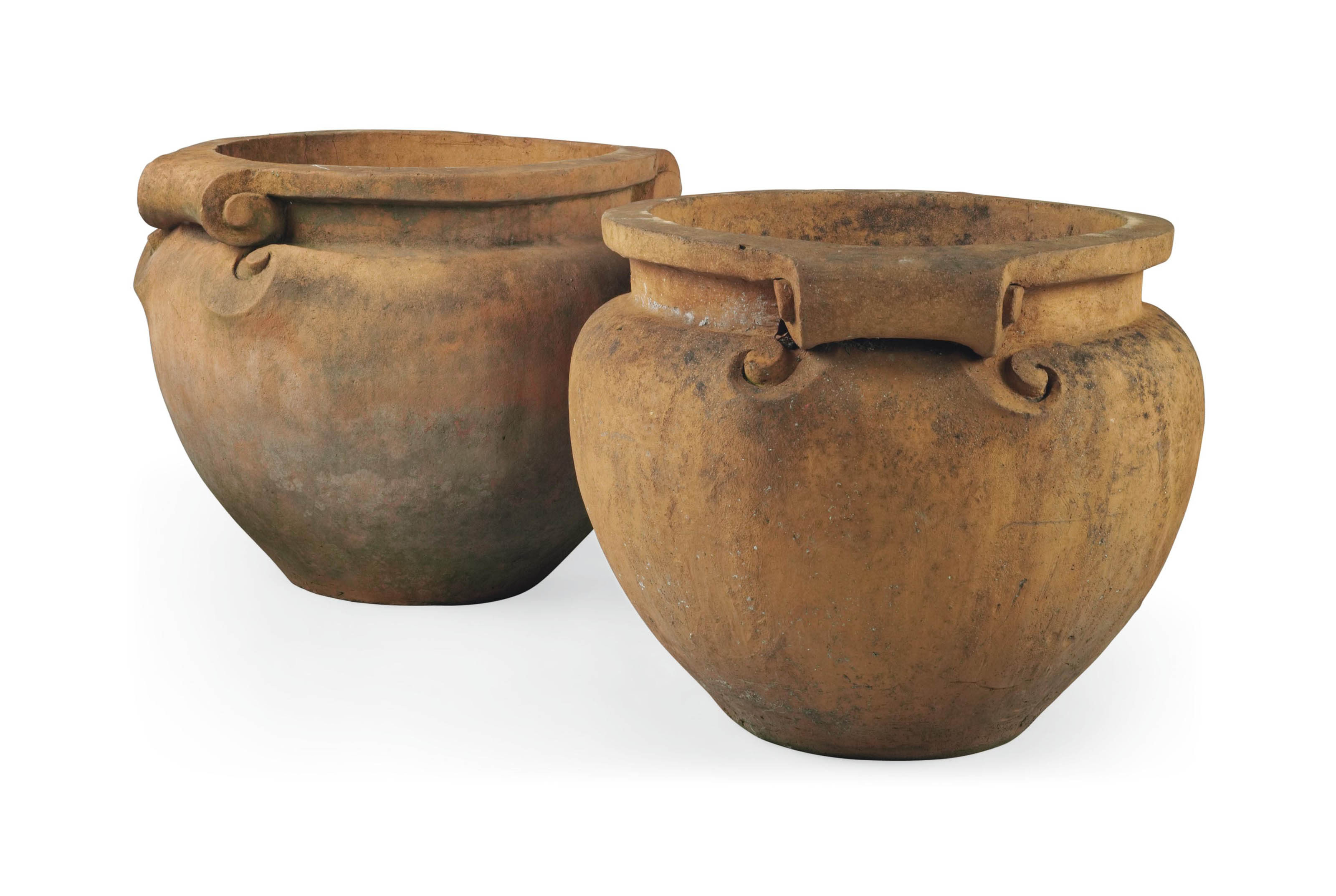 A PAIR OF TERRACOTTA SCROLL POTS