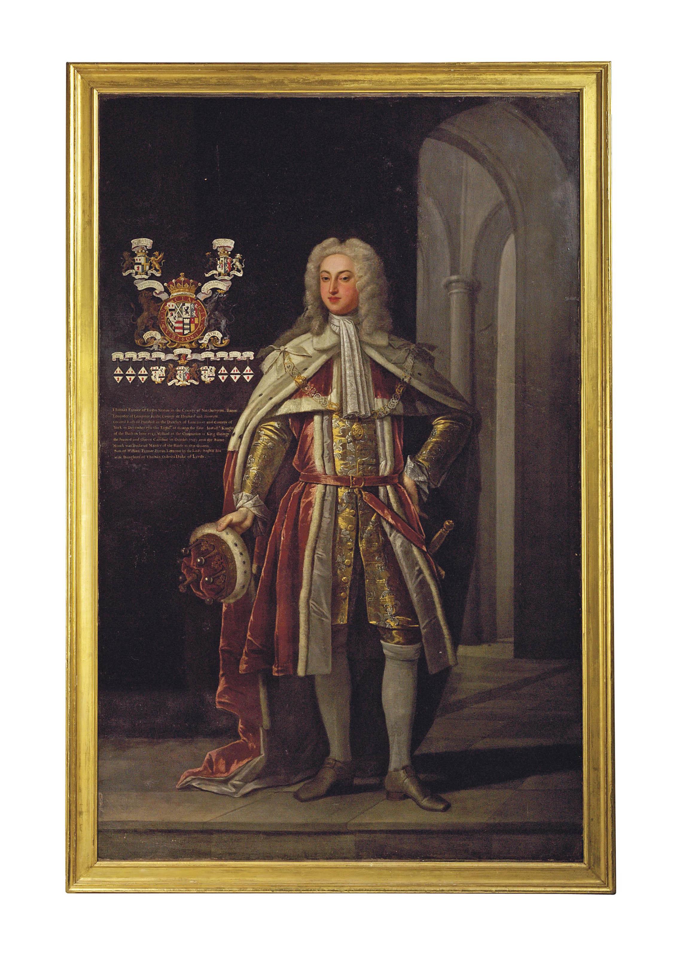 Portrait of Thomas Fermor, 1st Earl of Pomfret (1698-1753), full-length, in Peer's robes, in an interior