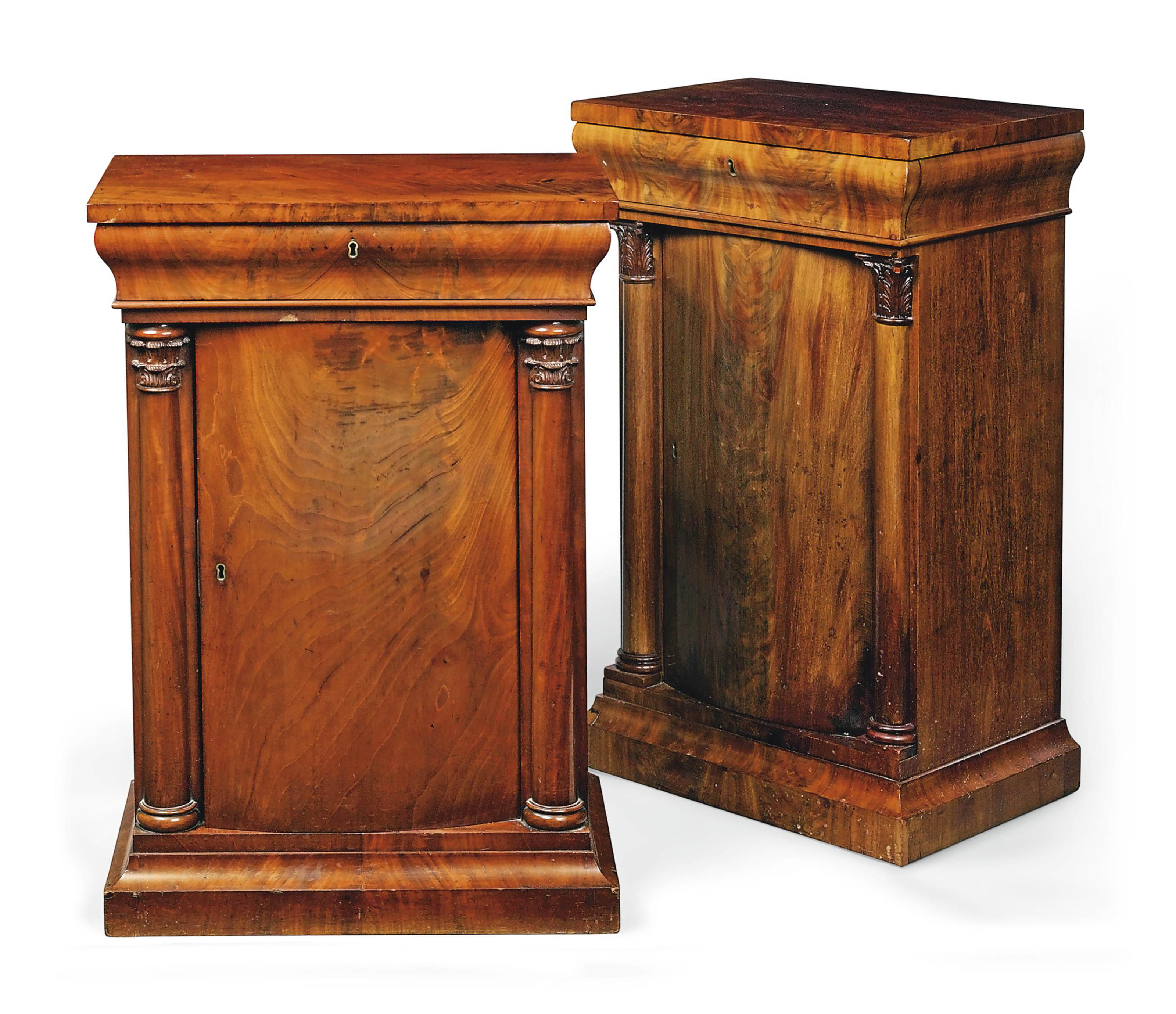 A NEAR PAIR OF ROYAL GERMAN MAHOGANY BEDSIDE PIER CABINETS , LATE 19TH CENTURY