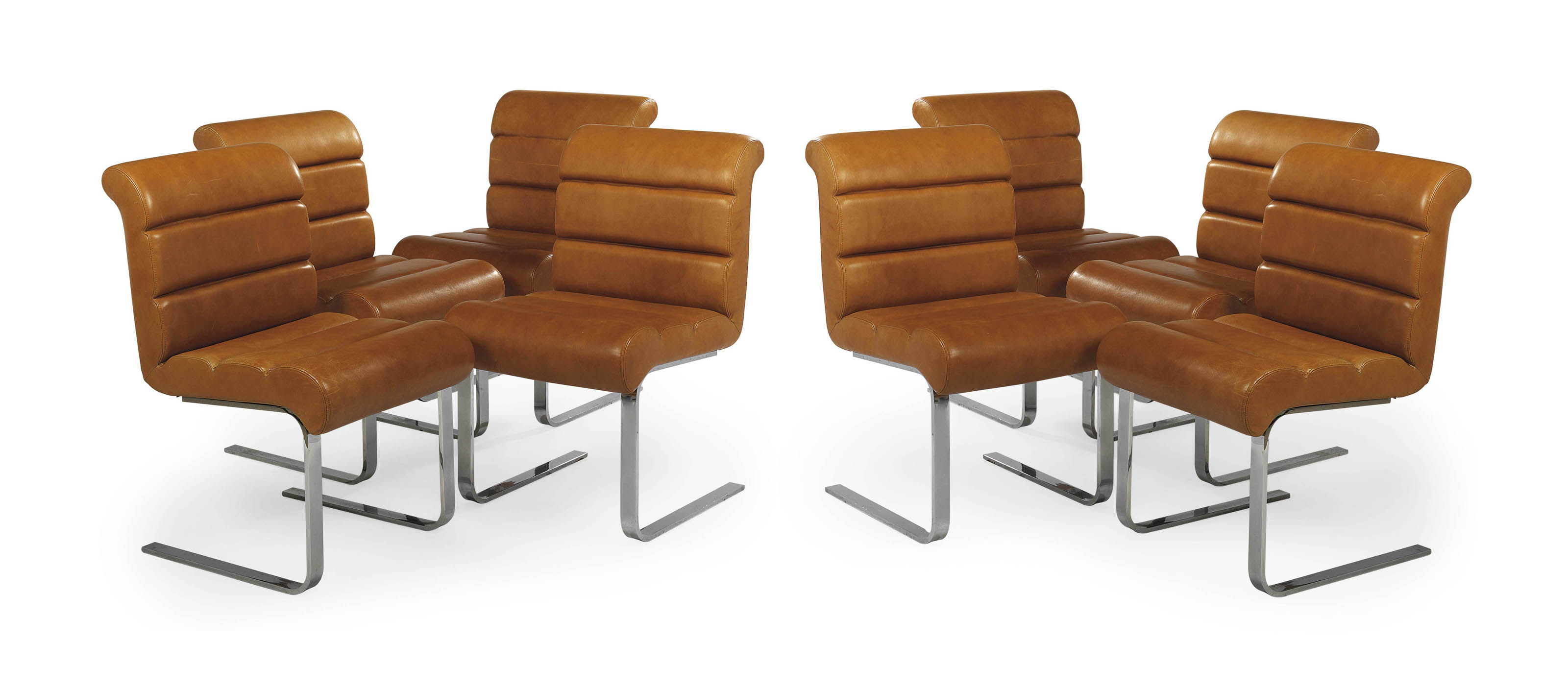 A SET OF EIGHT CHROME AND TAN LEATHER DINING CHAIRS , BY