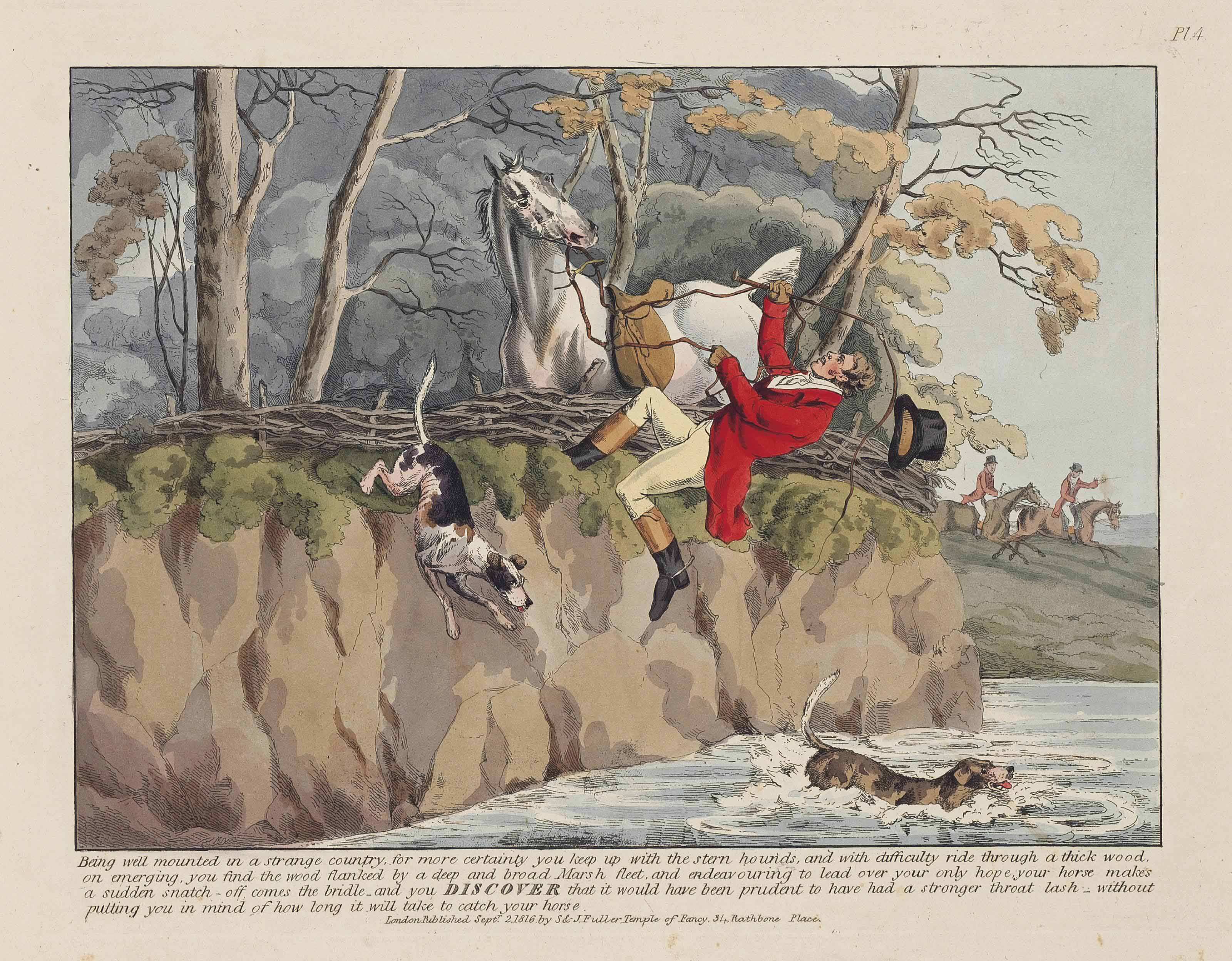 [ALKEN, Henry.] Sporting Discoveries or The Miseries of Hunting in a series of seven plates, being hints to young sportsmen by Ben Tally-Ho. London: S. and J. Fuller, 2 September 1816 [watermarked 1815]. Oblong 2° (280 x 385mm). 7 hand-coloured etched plates. (Some mostly marginal soiling and spotting.) Printed portion of the original front wrapper window-mounted in modern paper wrappers; modern green cloth case, the upper side with gilt morocco label.