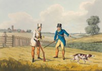 ALKEN, Henry. A Cockney's Shooting Season in Suffolk. London: Thomas M'Lean, 1822 [watermarked 1821]. 2° (275 x 380mm). 6 hand-coloured aquatint plates, signed 'Henry Alken delt.' (Slight soiling of plate margins, some offsetting and light spotting to text.) Original printed wrappers with title on front and advertisements for Thomas McLean's books, the majority by Alken, on back cover (edges worn, front cover split along fold line, repaired tear in rear cover). Provenance: C. Sanctuary, March 1871 (inscription on cover) -- Fitz Eugene Dixon (blank sheets on inside of wrappers pasted over his manuscript notes; his sale, Anderson Galleries, New York, 6 January 1937, lot 43) -- Prince Henry, Duke of Gloucester (bookplate; his sale, Christie's London, 26-27 January 2006, lot 612).