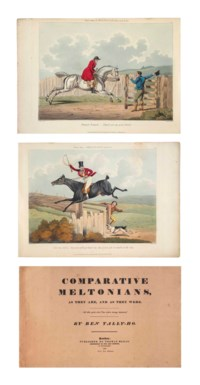 [ALKEN, Henry.]  Comparative Meltonians as They are and as They were by Ben Tally-Ho. London: Thomas M'Lean, 1823 [watermarked J. Whatman 1822]. Oblong 2° (320 x 500mm). Letterpress title, 6 hand-coloured aquatint plates by G. Hunt after Alken. (Plate 4 a little spotted in sky area, slight spotting and browning at page edges.) Original pink wrappers, front cover printed with title, back cover with advertisement for books by Alken and others (spine rubbed and repaired, slight staining to back cover, both covers lined with off-white paper). Modern grey cloth portfolio and slipcase backed in red morocco.