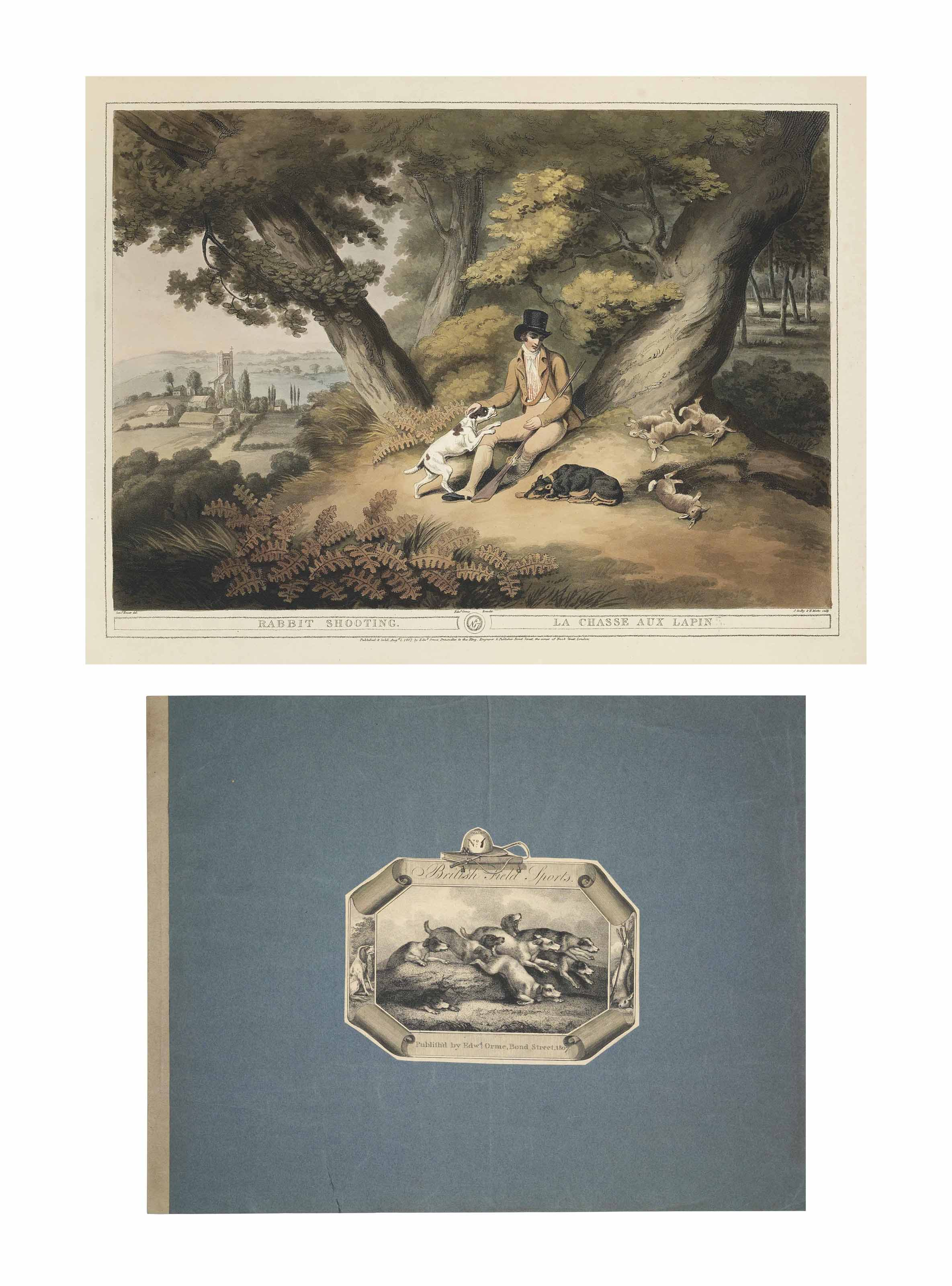 ORME, Edward and HOWITT, Samuel (?1765-1822). Orme's Collection of British Field Sports. London: Edward Orme, 1807 [-1808]. 10 parts, oblong 2° (458 x 580mm). Hand-coloured aquatint title, list of plates with aquatint vignette, and 20 hand-coloured aquatint plates by Godby, Vivares, Craig, Clark and Merke after Howitt. (Short tears with old repairs in the margins of plates 1, 4, 10-13 and 20; plates 6 and 19 with repaired tears just touching the image; occasional light browning; overslips on plates 2 and 9 worn.) Parts 1, and 3-6 each in the original blue paper wrappers backed with drab paper spine, the upper side of each with a large engraved title label numbered in manuscript; parts 2, and 8-10 each skilfully bound to style; part 7 possibly bound to style but reusing the printed label (light wear); together in a blue half morocco case, probably by Aquarius.