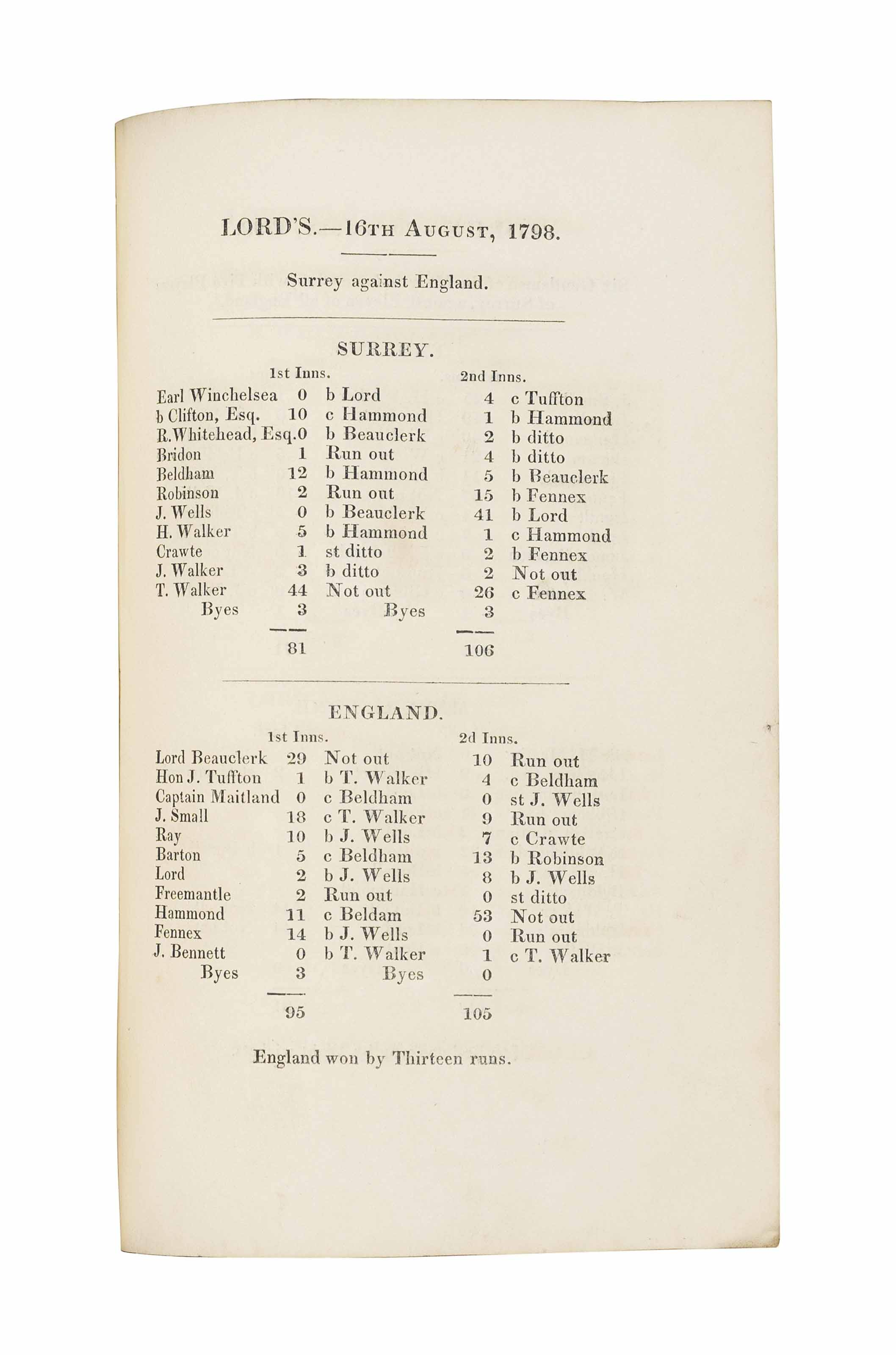 BENTLEY, Henry. A Correct Account of All Cricket Matches ... played ... 1786 to 1822. London: T. Traveller, 1823. 8° (203 x 120mm). (Soiling to margins, some spotting, *S4 torn at upper margin.) Uncut in contemporary marbled boards backed in black calf (spine restored but subsequently worn, front cover detaching). Provenance: Irving Rosenwater (Collection Catalogue I, 19).
