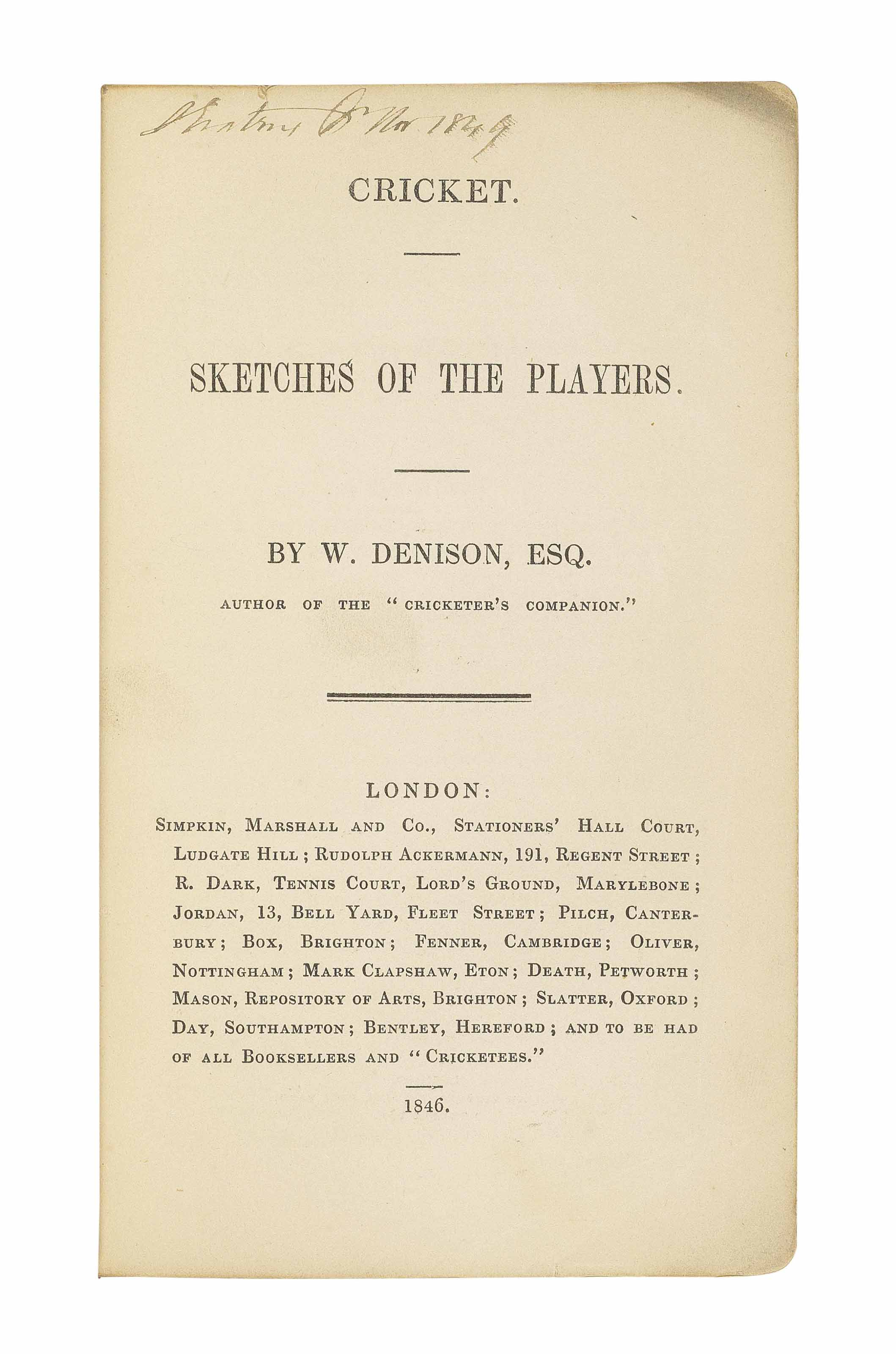 DENISON, William.  Cricket. Sk