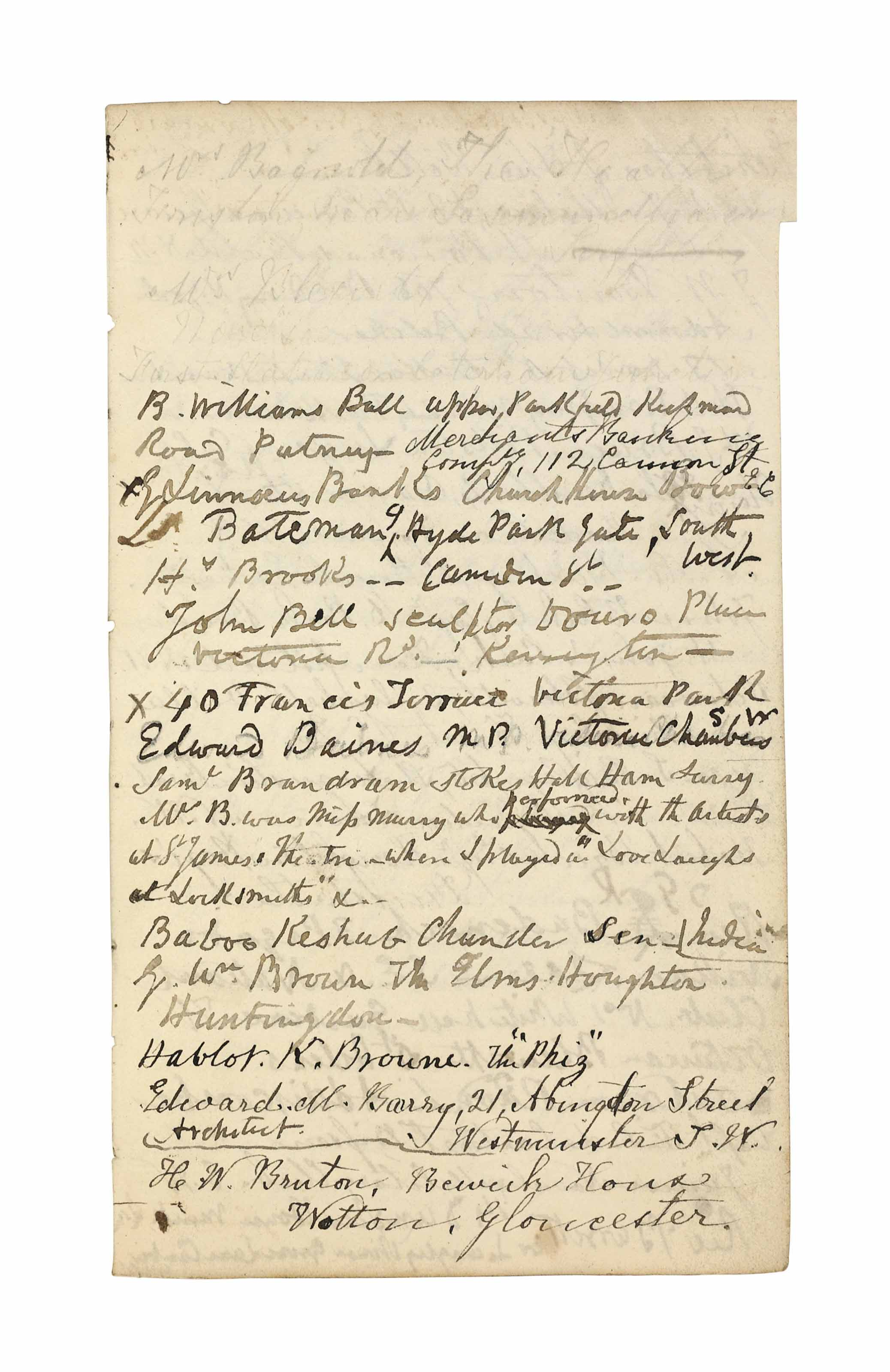 """CRUIKSHANK, George (1792-1878). Autograph manuscript address book, [begun mid-1840s], heavily used, the addresses including Charles Dickens (at 1 Chester Place, an address he occupied briefly in 1847), W.M. Thackeray (3 addresses), John Ruskin, Hablot K. Browne (annotated 'The """"Phiz""""'), Robert Smirke senior, the publishers Bradbury and Evans, Lord John Russell, as well as collectors, tradesmen, lodgings, and many others, in at least one case noting a family of abstainers, sketch drawing of a palette on the front free endpaper annotated 'Wilkie's Palette  on the authority of Alexr Fraser who painted with Wilkie', 77 leaves, 8vo, original roan (worn, sprung), stationer's label of A.H. Baily & Co., red cloth slipcase. Provenance: William H. Woodin collection, New York -- his sale, Parke-Bernet, 6-8 January 1942, part 2, lot 238 -- Sotheby's New York, 14 December 1988, lot 11."""