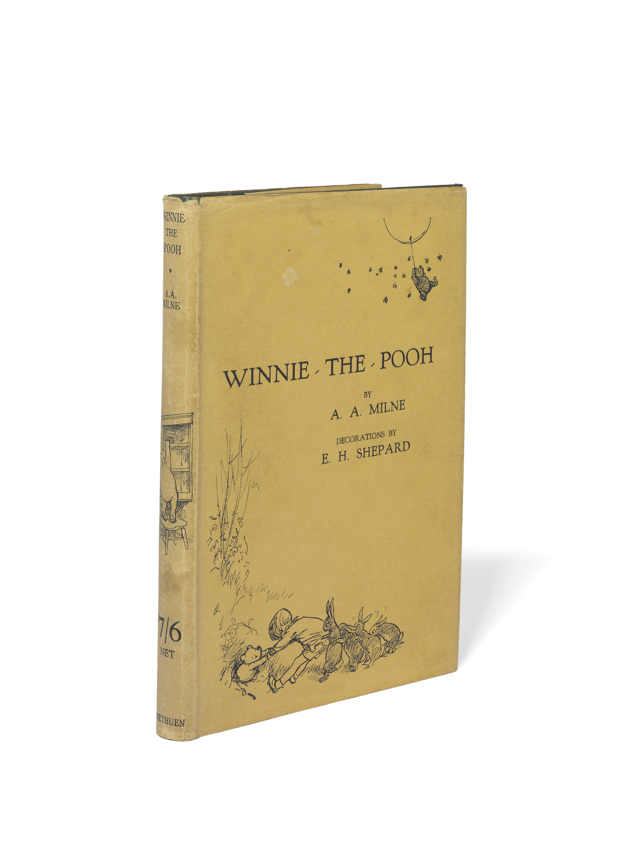 MILNE, Alan Alexander (1882-1956) & Ernest H. SHEPARD (1879-1976, illustrator). Winnie-the-Pooh. London: Methuen & Co. Ltd., 1926. 8° (190 x 125mm). Half-title, illustrations by E. H. Shephard. Original green pictorial cloth gilt, pictorial dust-jacket, top edge gilt (dust-jacket with light soiling, head of spine lightly chipped).
