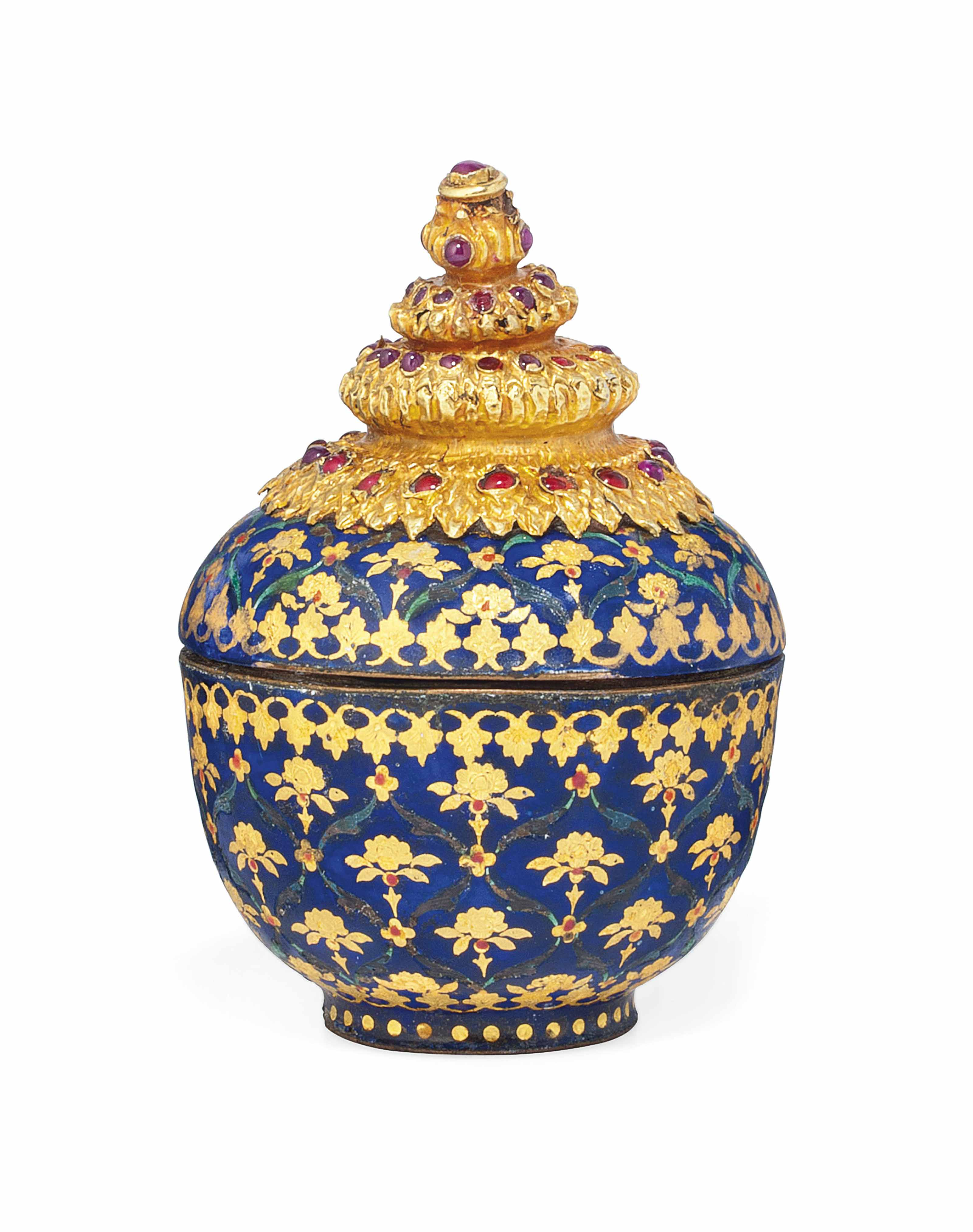 A GEM-SET, GOLD AND ENAMELLED COVERED BOX