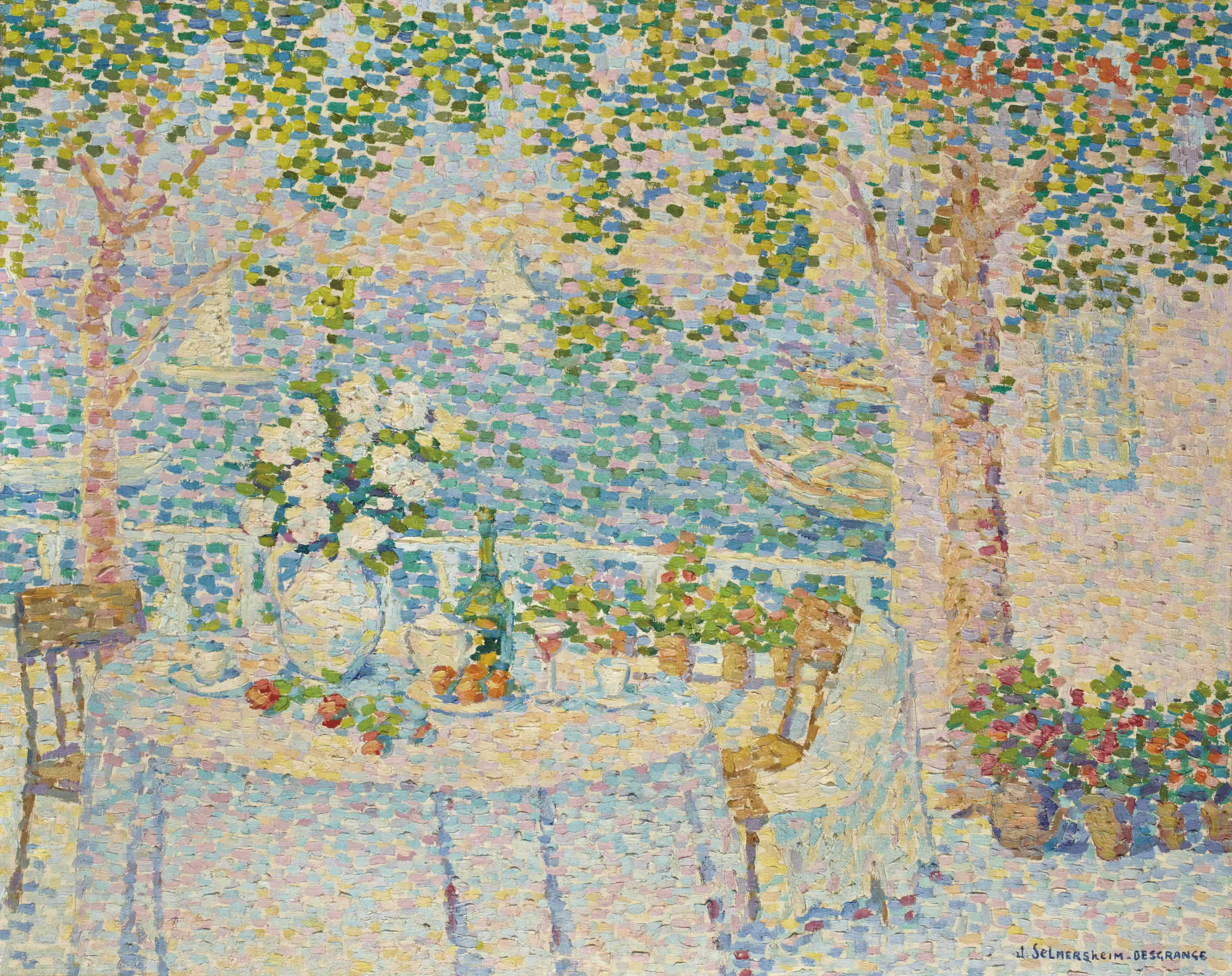 La table blanche, vue sur le lac