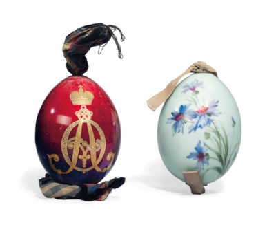 TWO RUSSIAN PORCELAIN EASTER E