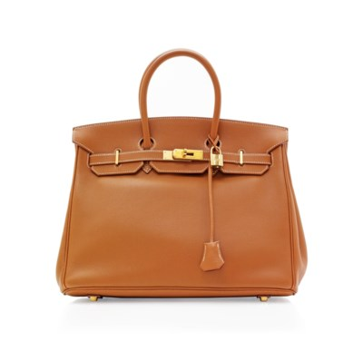 A GOLD LEATHER BIRKIN BAG