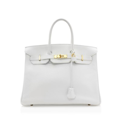A WHITE LEATHER BIRKIN BAG